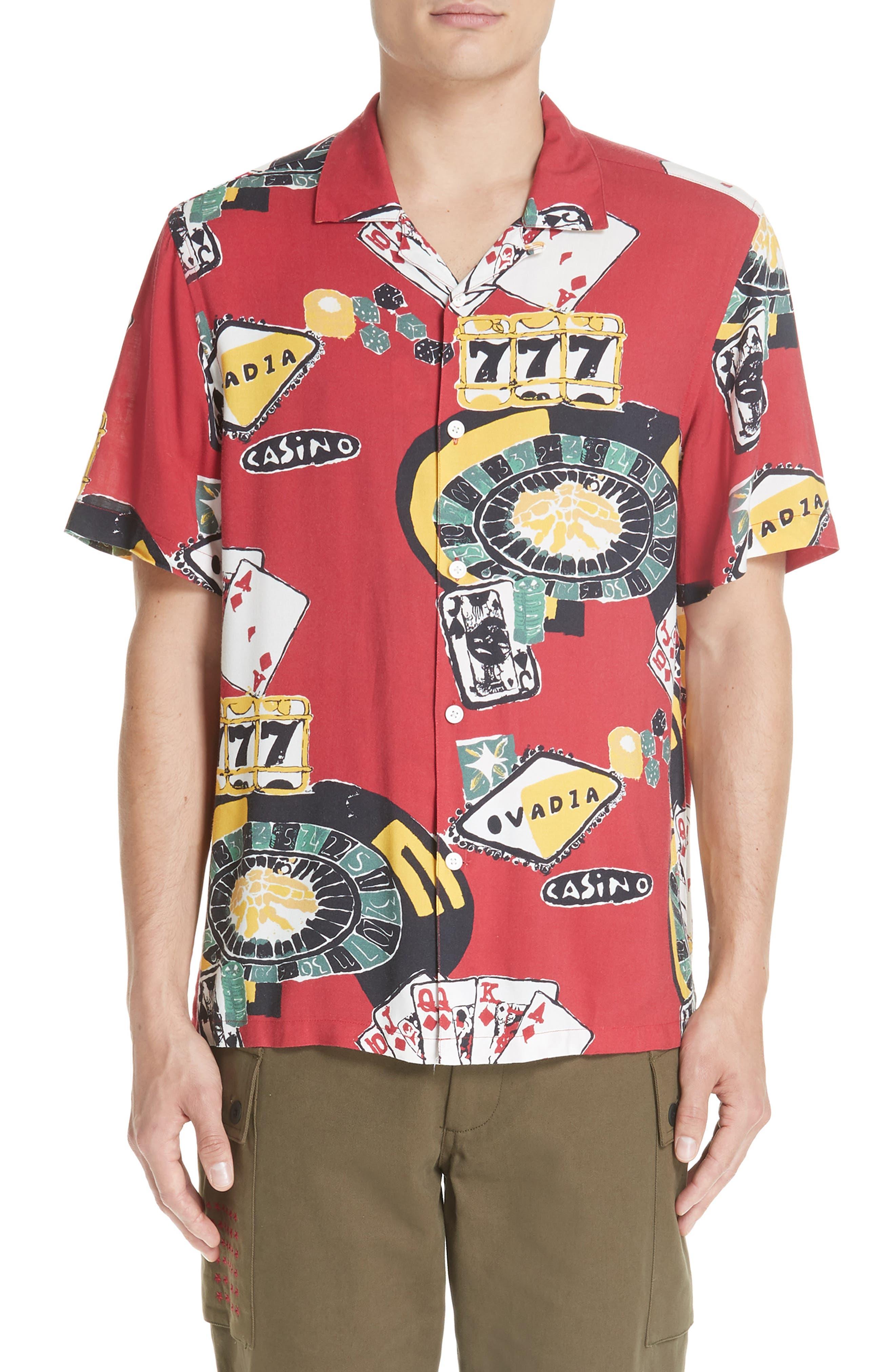 OVADIA & SONS,                             Casino Print Shirt,                             Main thumbnail 1, color,                             600