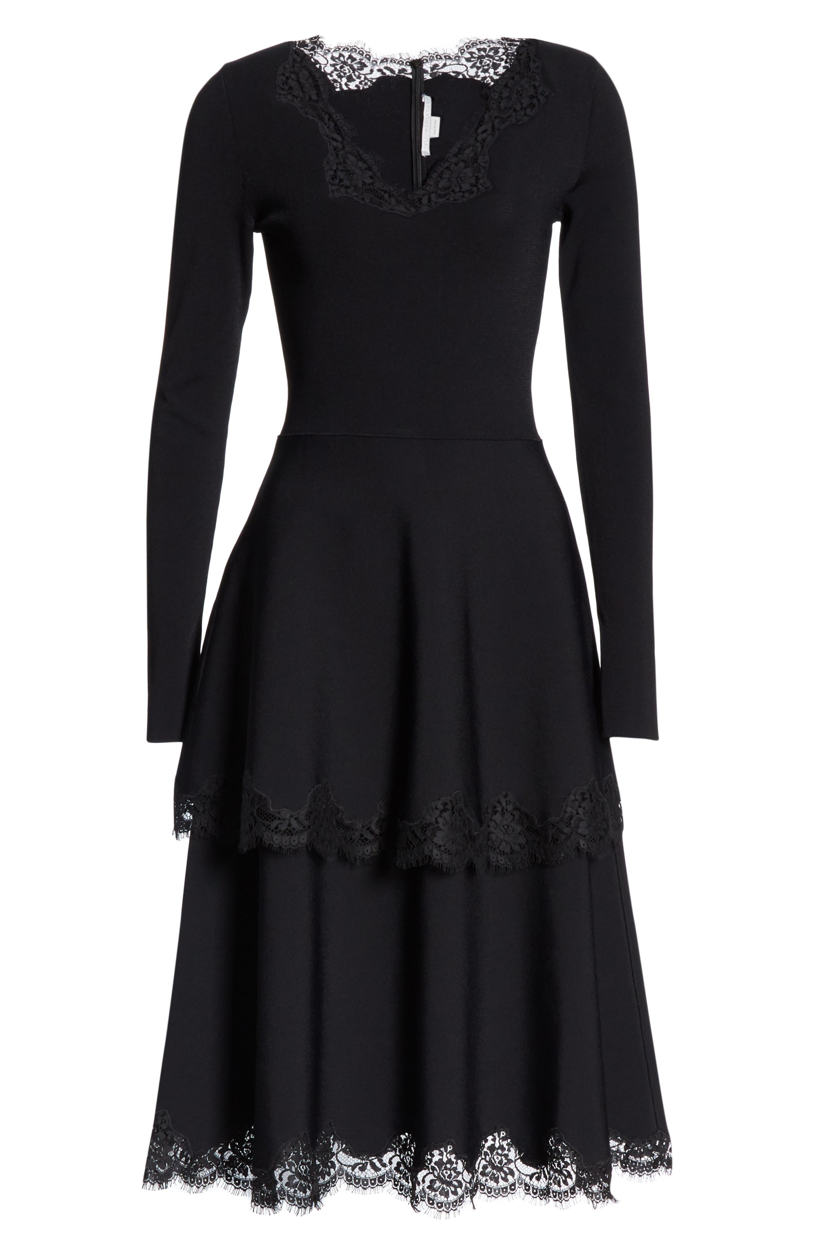 Lace Trim Tiered Sweater Dress,                             Alternate thumbnail 7, color,                             BLACK