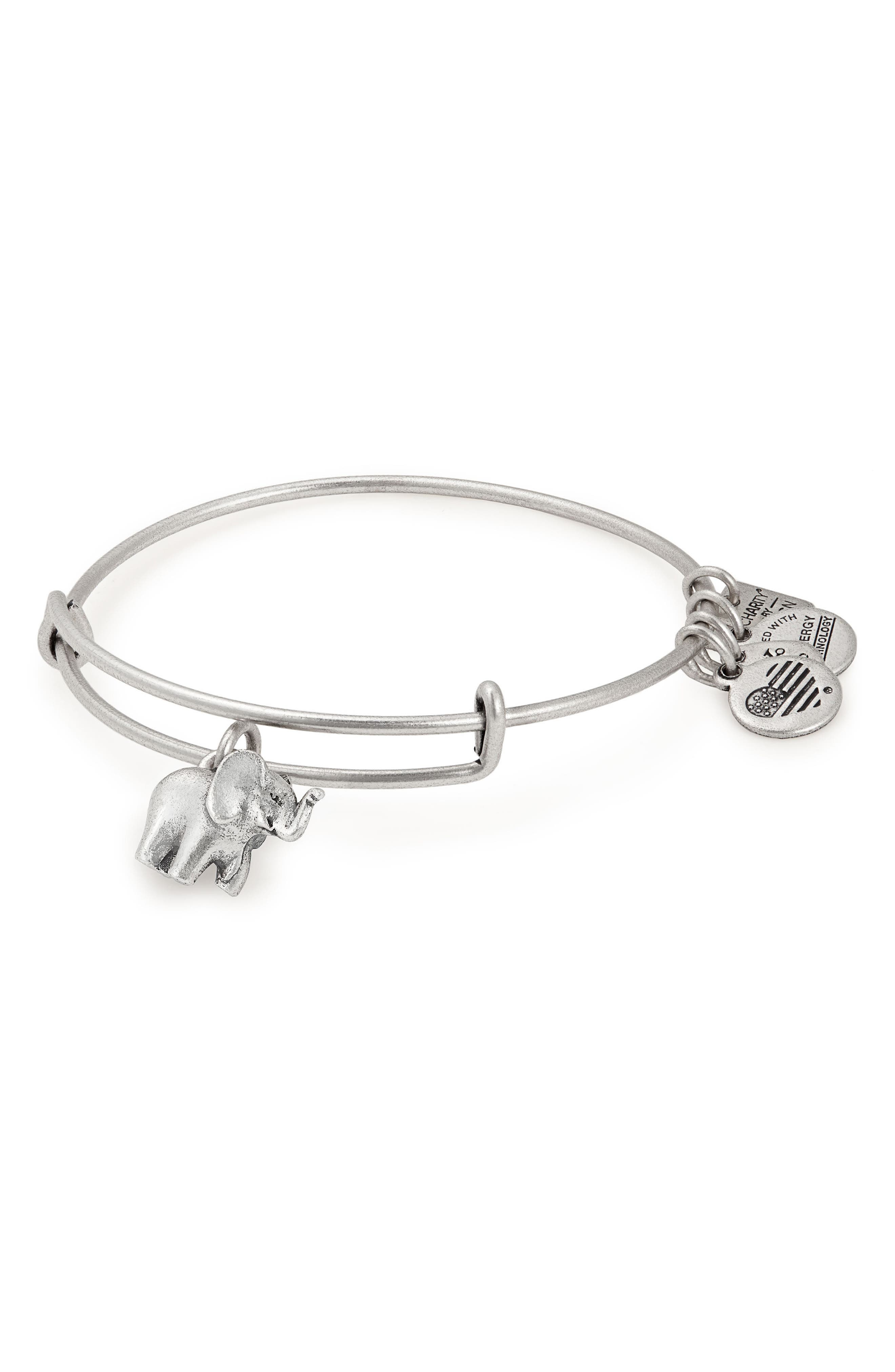 Charity by Design Elephant II Adjustable Bangle,                             Alternate thumbnail 2, color,                             SILVER