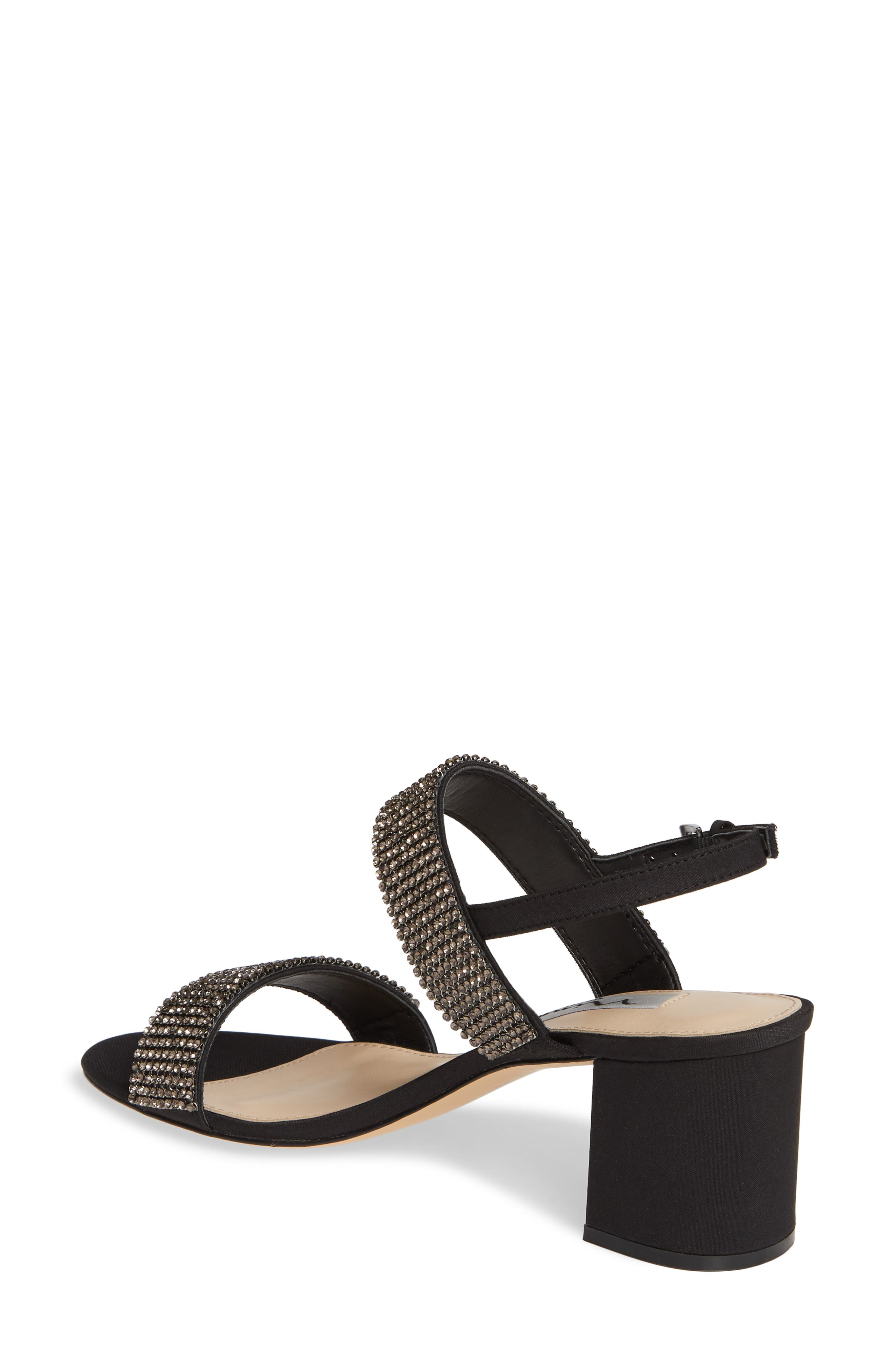 Naomi Crystal Embellished Sandal,                             Alternate thumbnail 2, color,                             BLACK FABRIC