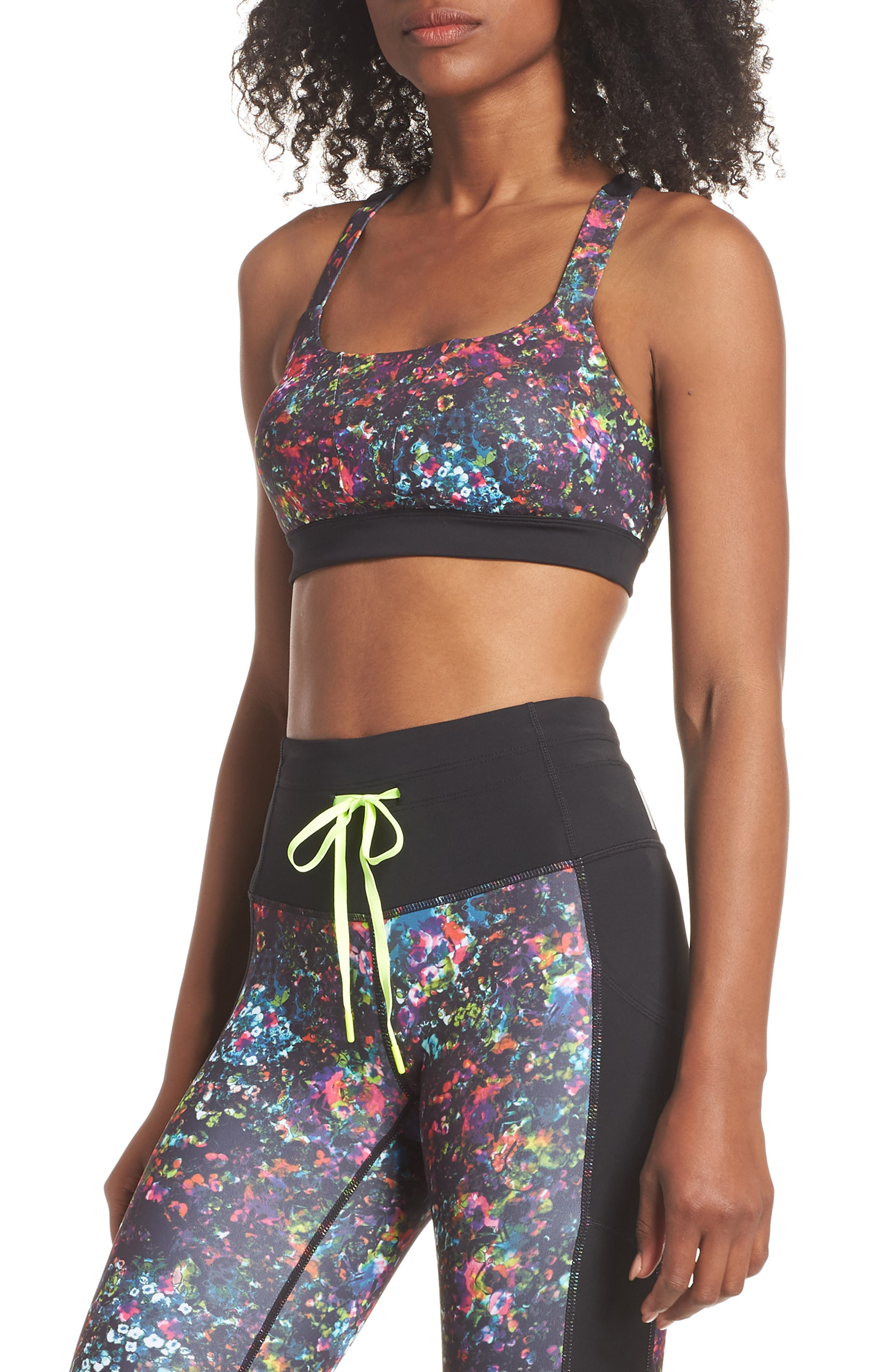 Dawn Print Sports Bra,                             Main thumbnail 1, color,                             001
