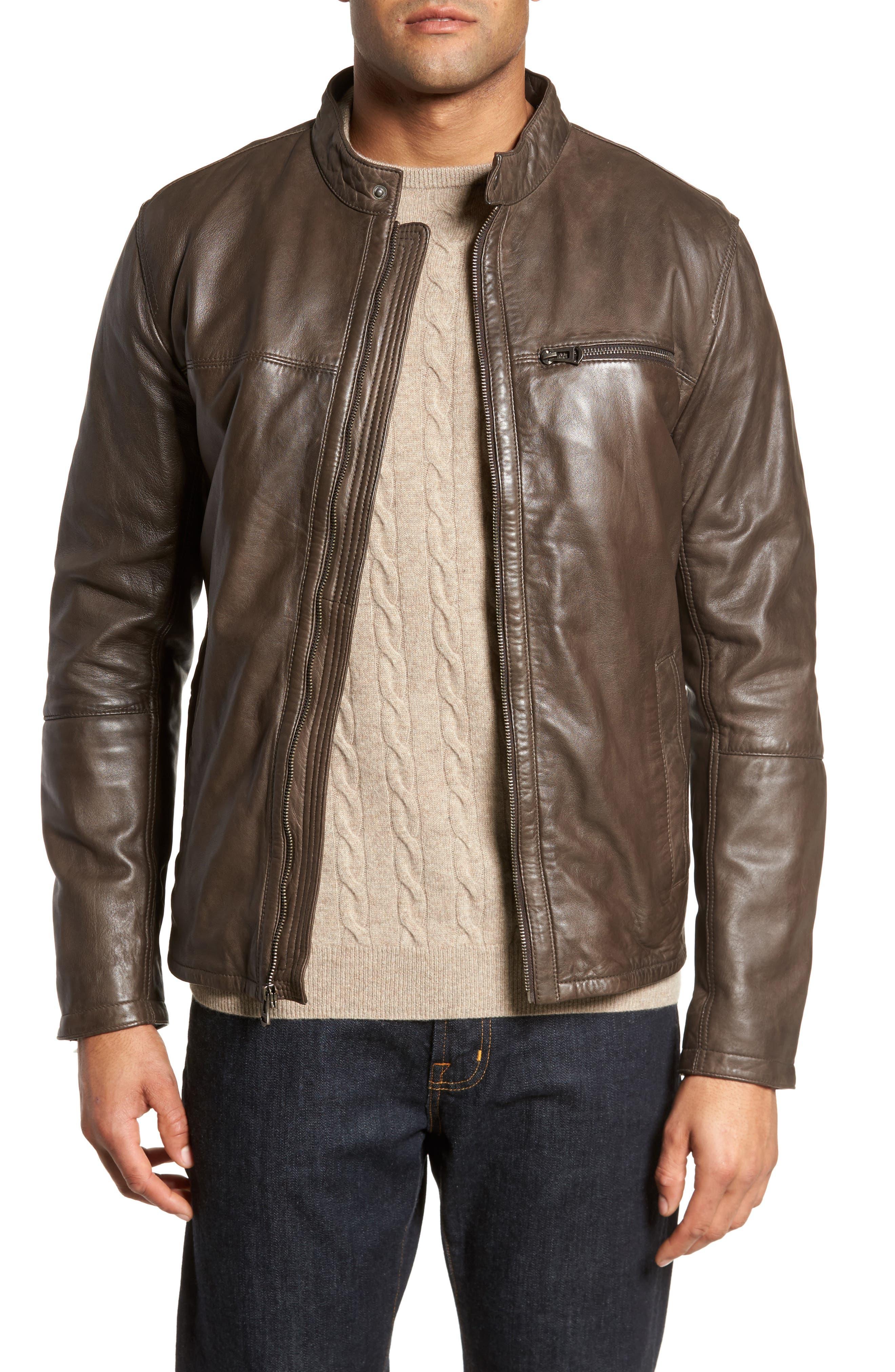 Washed Lamb Leather Moto Jacket,                             Main thumbnail 2, color,