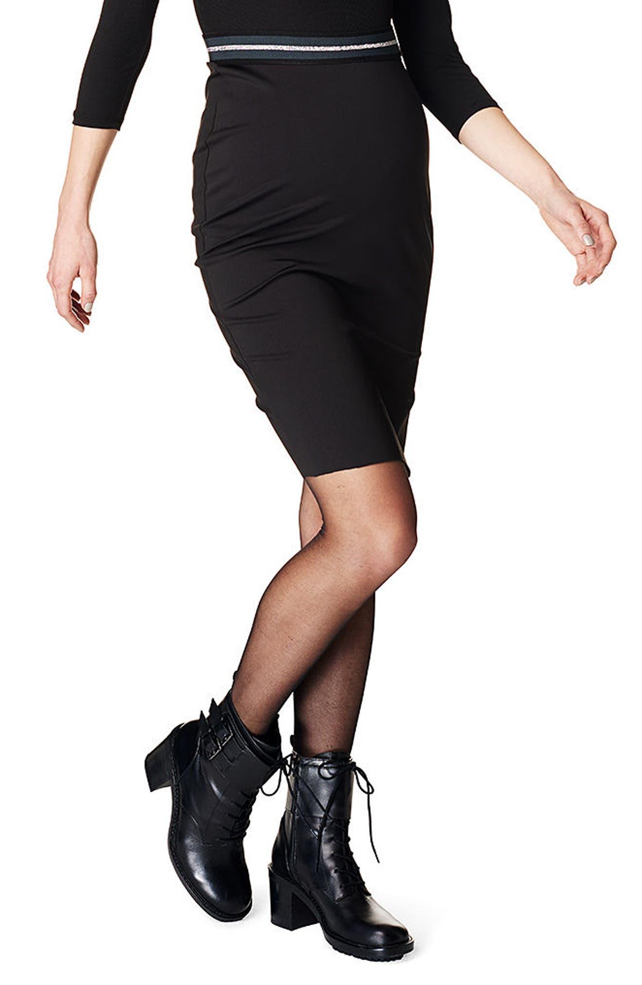 Supermom High Waist Scuba Maternity Skirt, Black