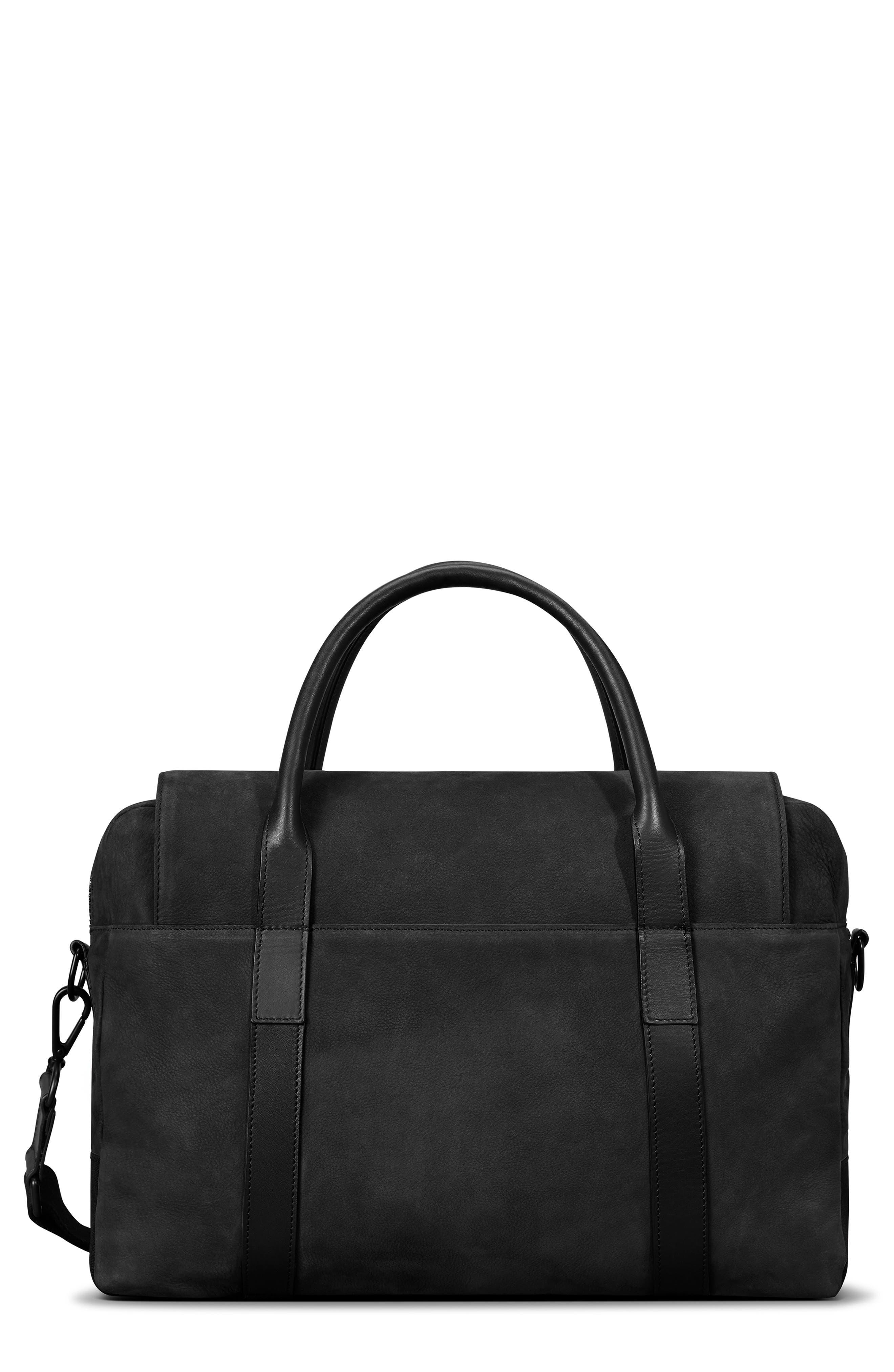 Nubuck Sport Briefcase,                             Main thumbnail 1, color,                             BLACK