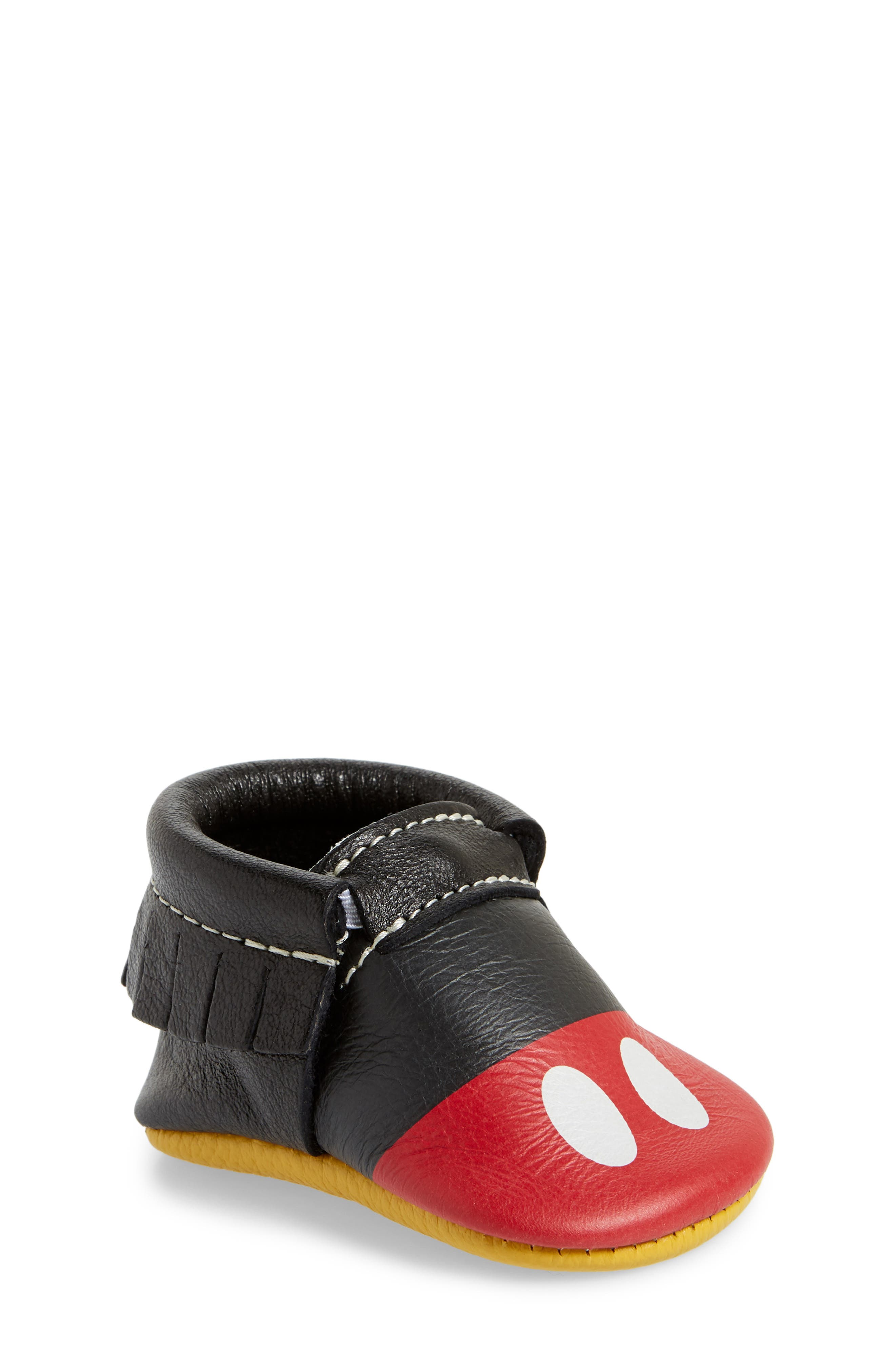 x Disney<sup>®</sup> Baby Mickey Mousee Crib Moccasin,                         Main,                         color, 001