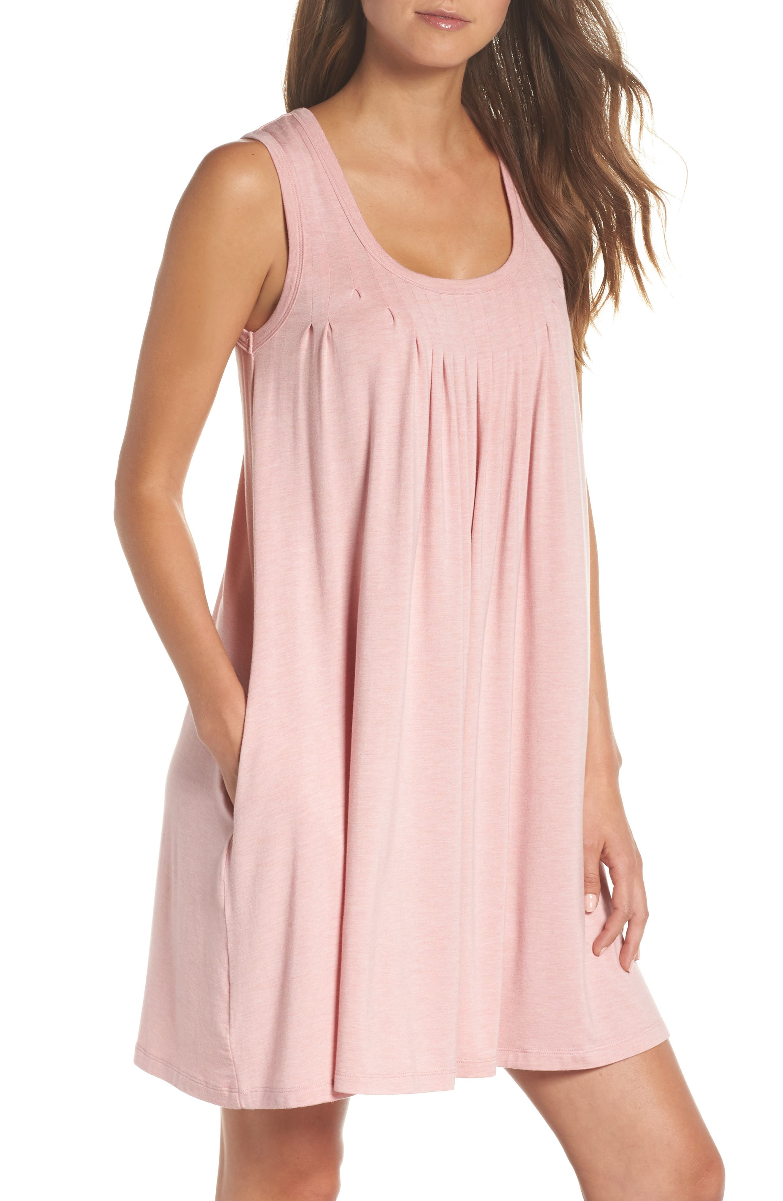 Pleated Chemise,                             Main thumbnail 1, color,                             VINTAGE PINK