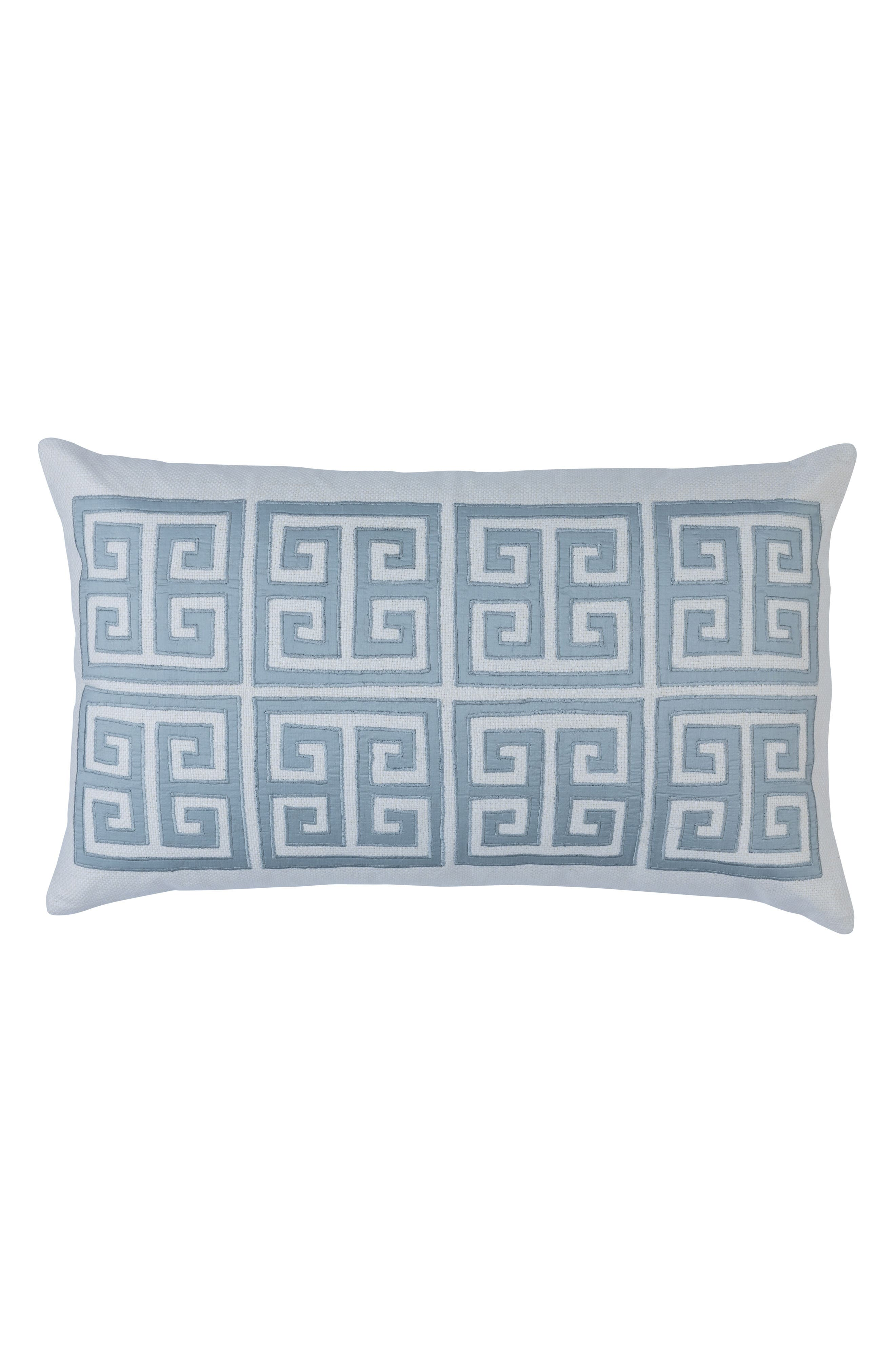 Guy Basket Weave Embroidery Accent Pillow,                         Main,                         color, BLUE