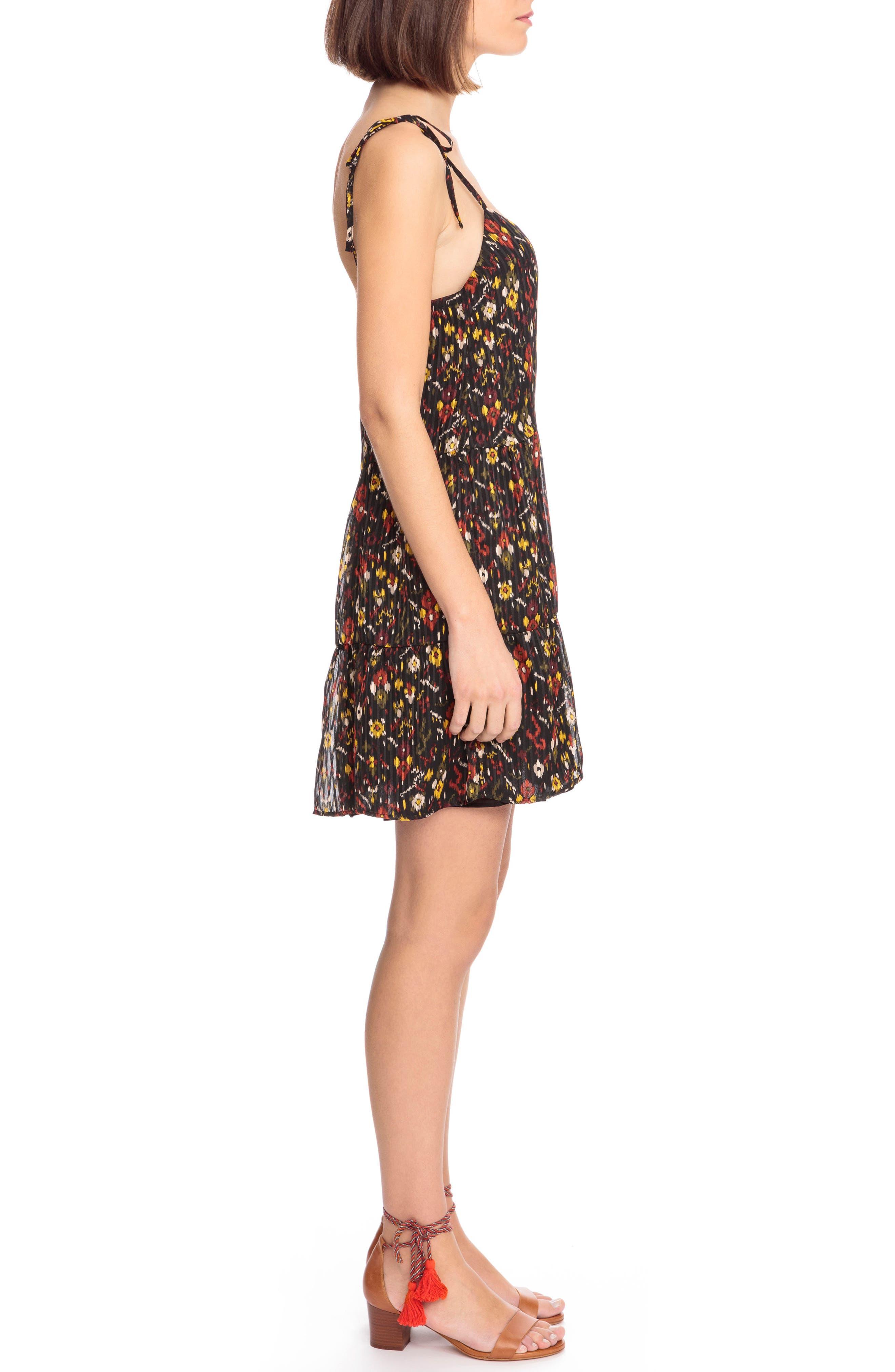 Felicie Floral Tie Strap Dress,                             Alternate thumbnail 3, color,                             600