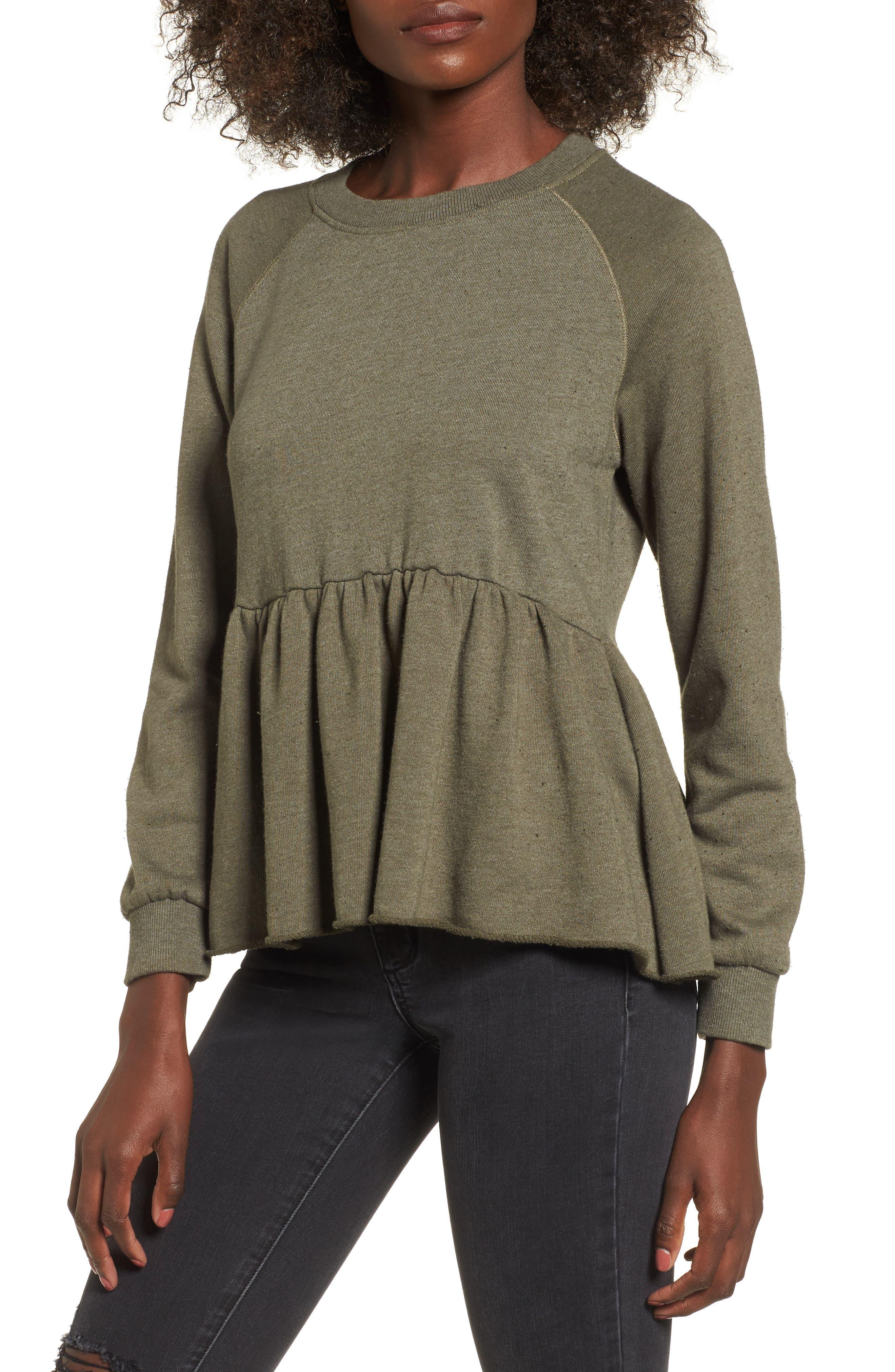 Viera Fleece Peplum Sweatshirt,                             Main thumbnail 2, color,