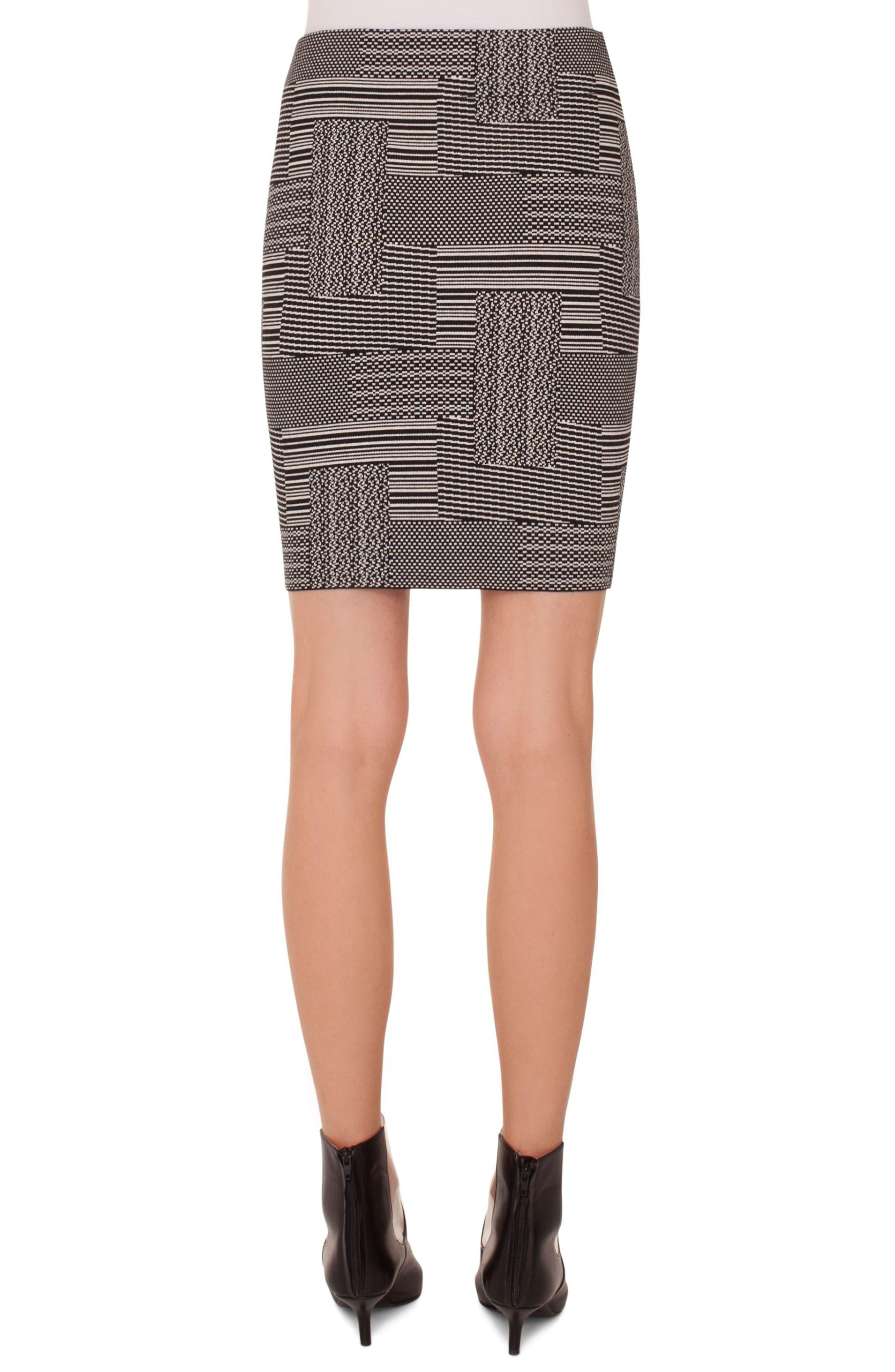 Patchwork Jacquard Miniskirt,                             Alternate thumbnail 2, color,                             BLACK-CREAM