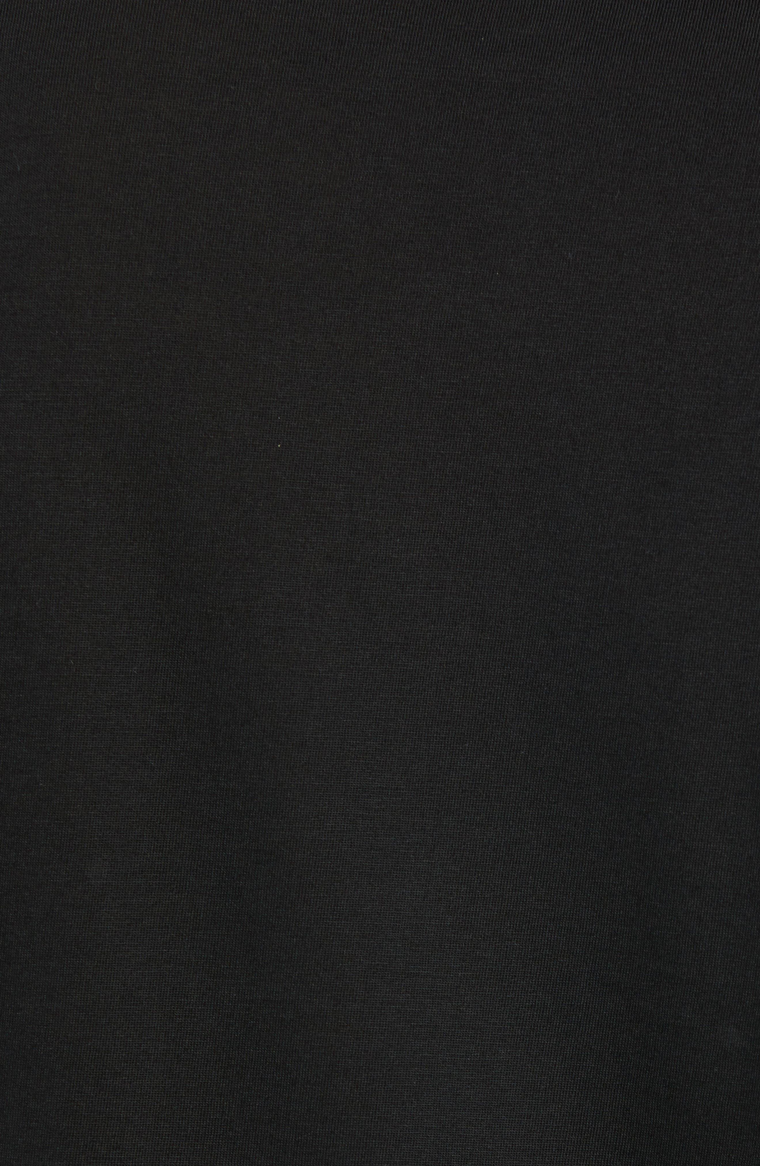 Long Sleeve Pima Cotton T-Shirt,                             Alternate thumbnail 5, color,                             BLACK