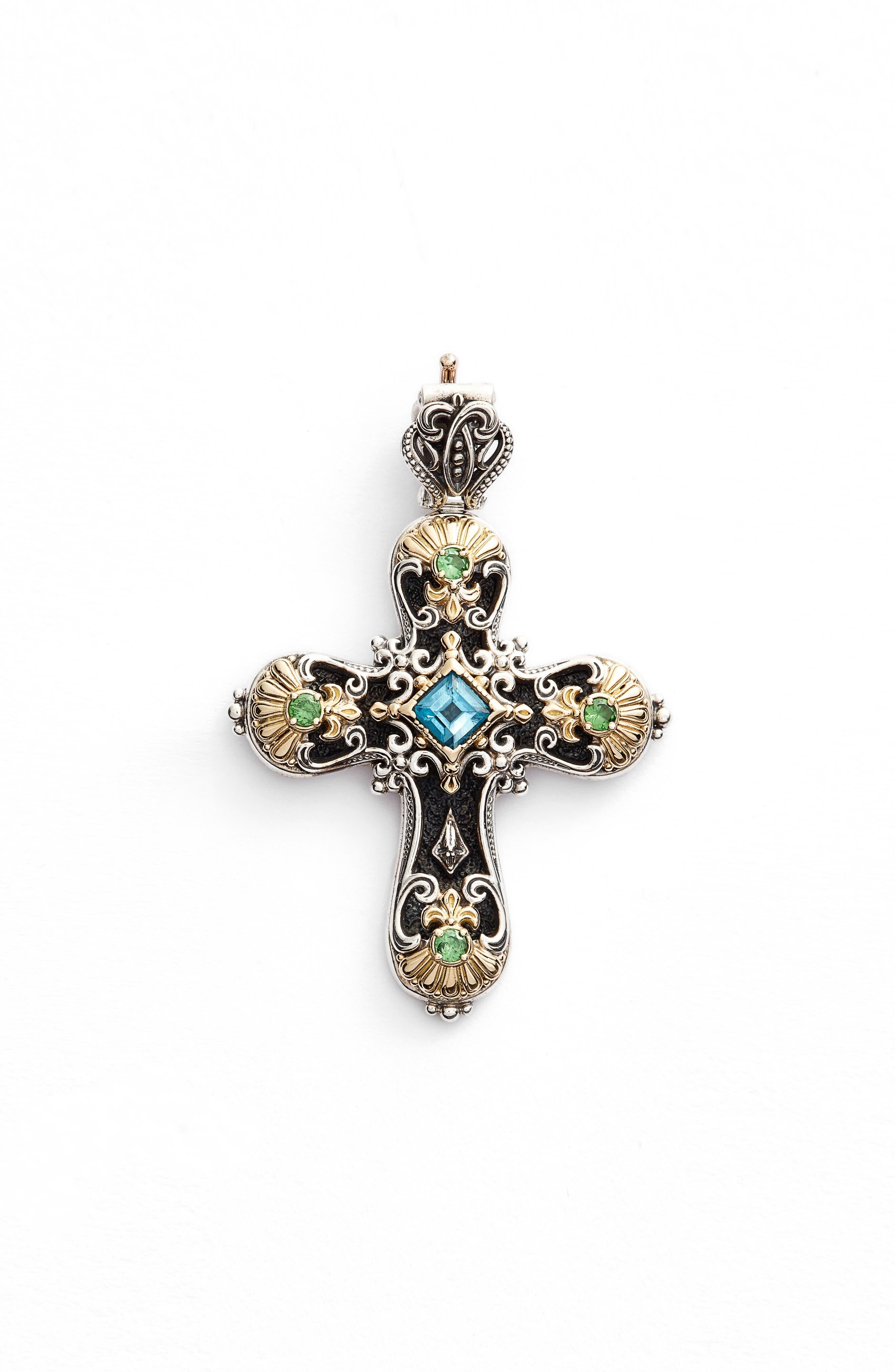 Nemesis Cross Pendant,                         Main,                         color, LONDON BLUE TOPAZ/ TSAVORITE