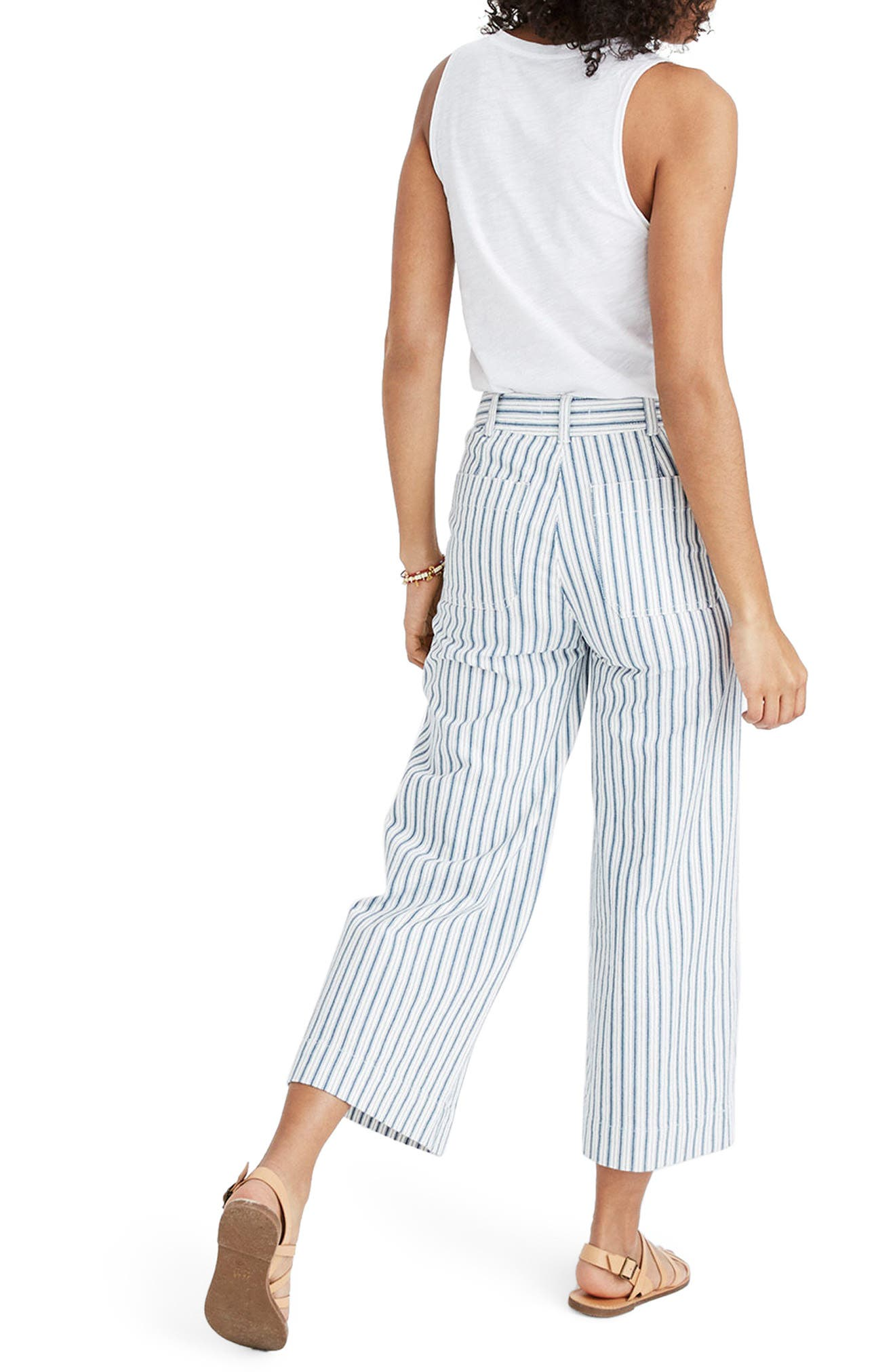 Emmett Stripe Crop Wide Leg Pants,                         Main,                         color, 400