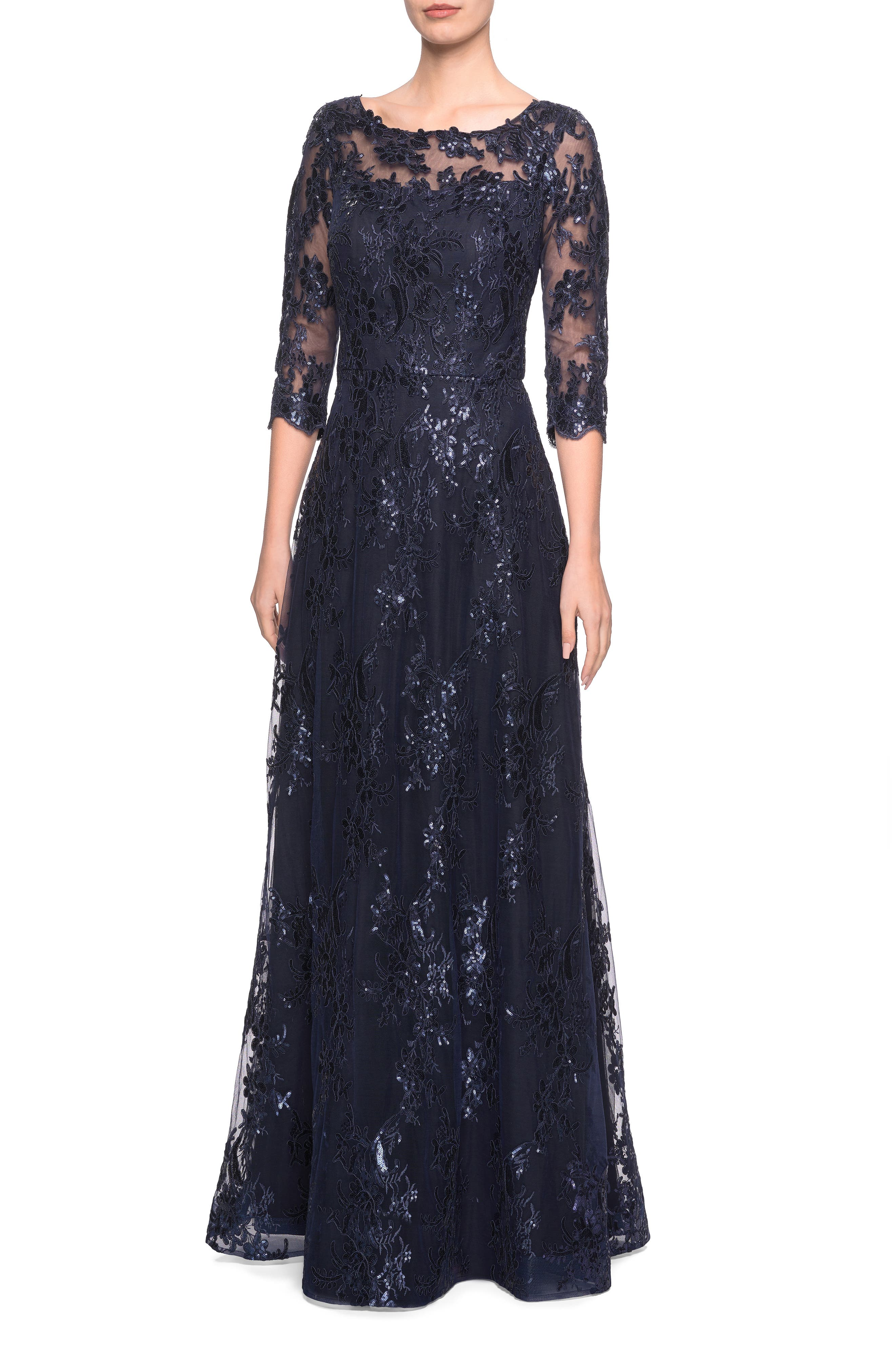 Shimmer Sequin Lace Evening Dress,                             Main thumbnail 1, color,                             NAVY