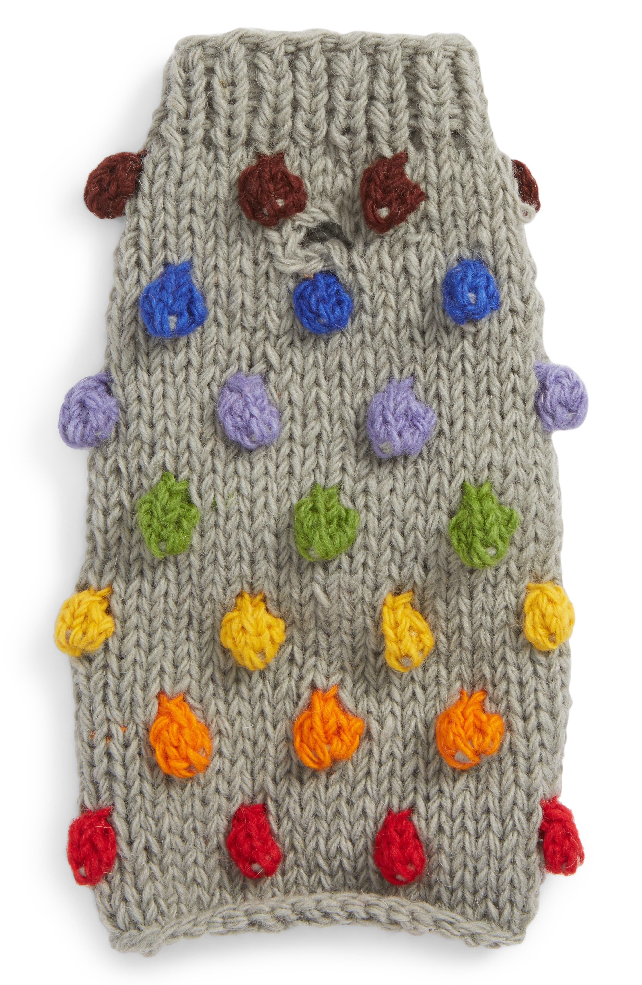 Rainbow Pom Knit Dog Sweater,                             Main thumbnail 1, color,                             020