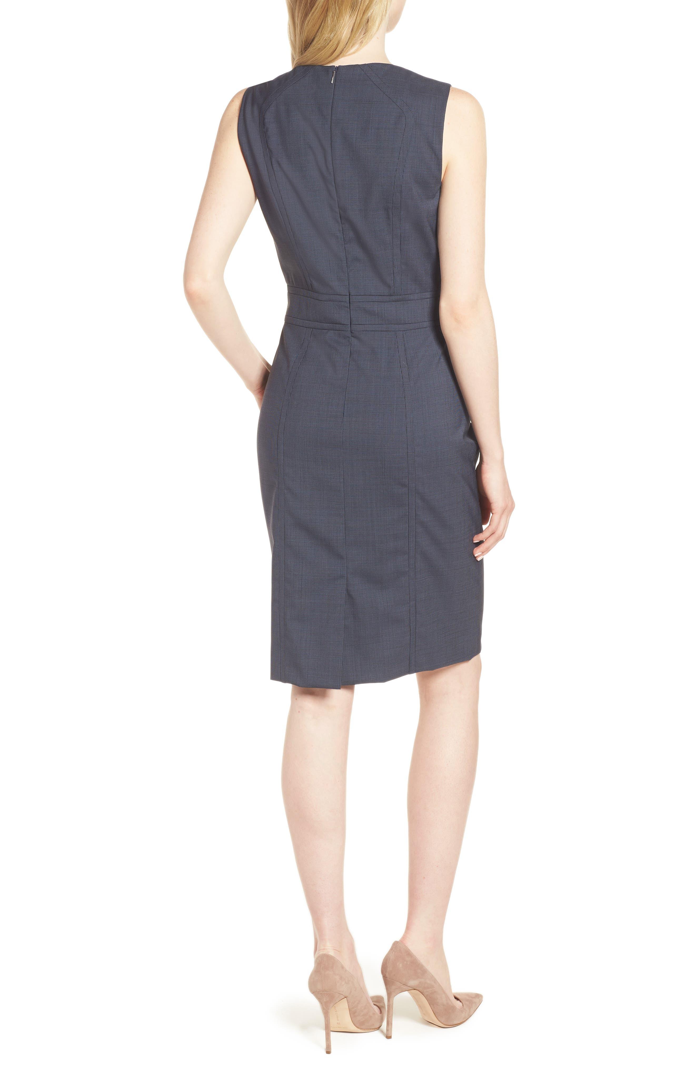 Dalouise Pepita Stretch Wool Sheath Dress,                             Alternate thumbnail 2, color,