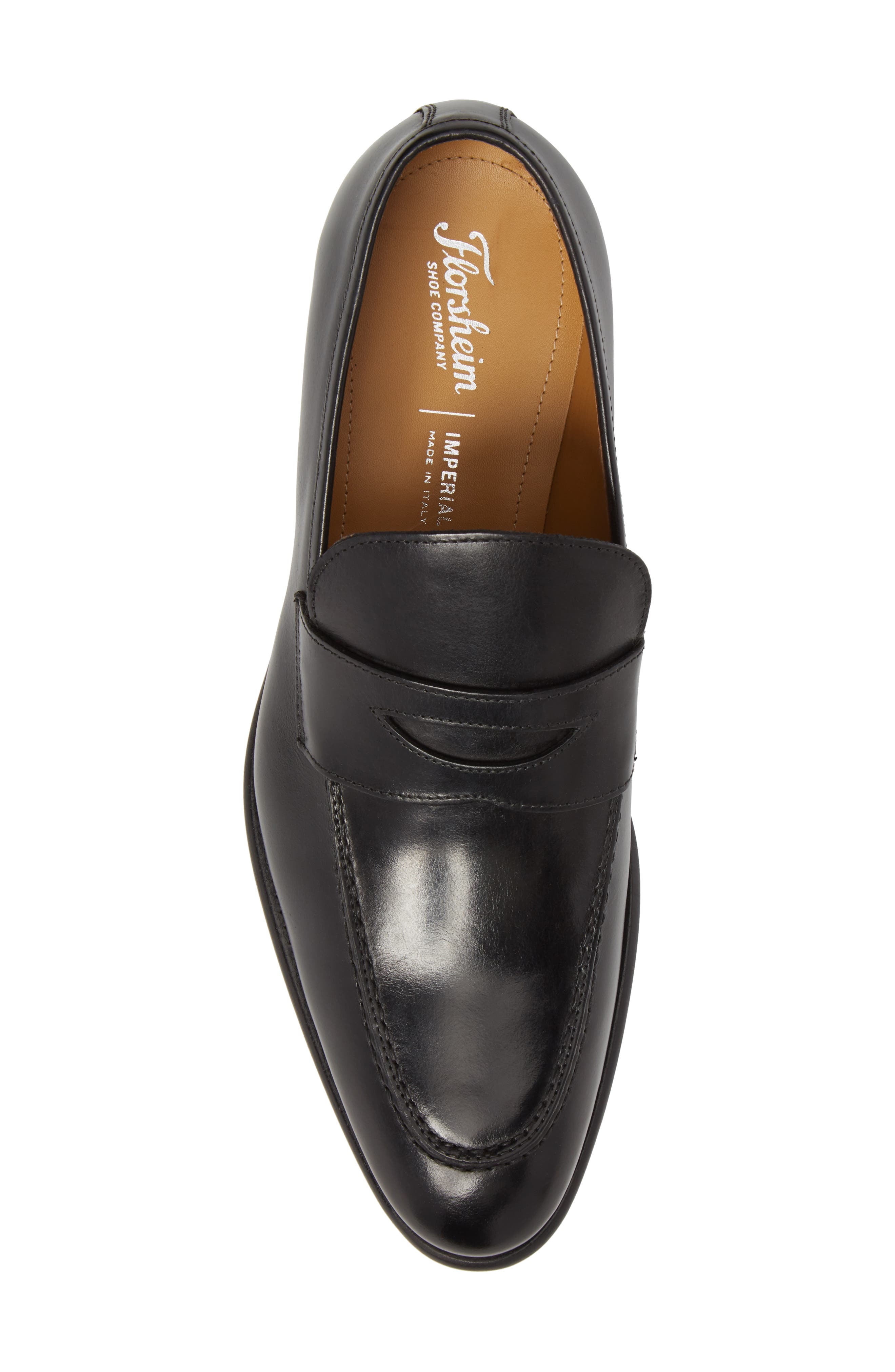 Imperial Venucci Apron Toe Penny Loafer,                             Alternate thumbnail 5, color,                             BLACK LEATHER