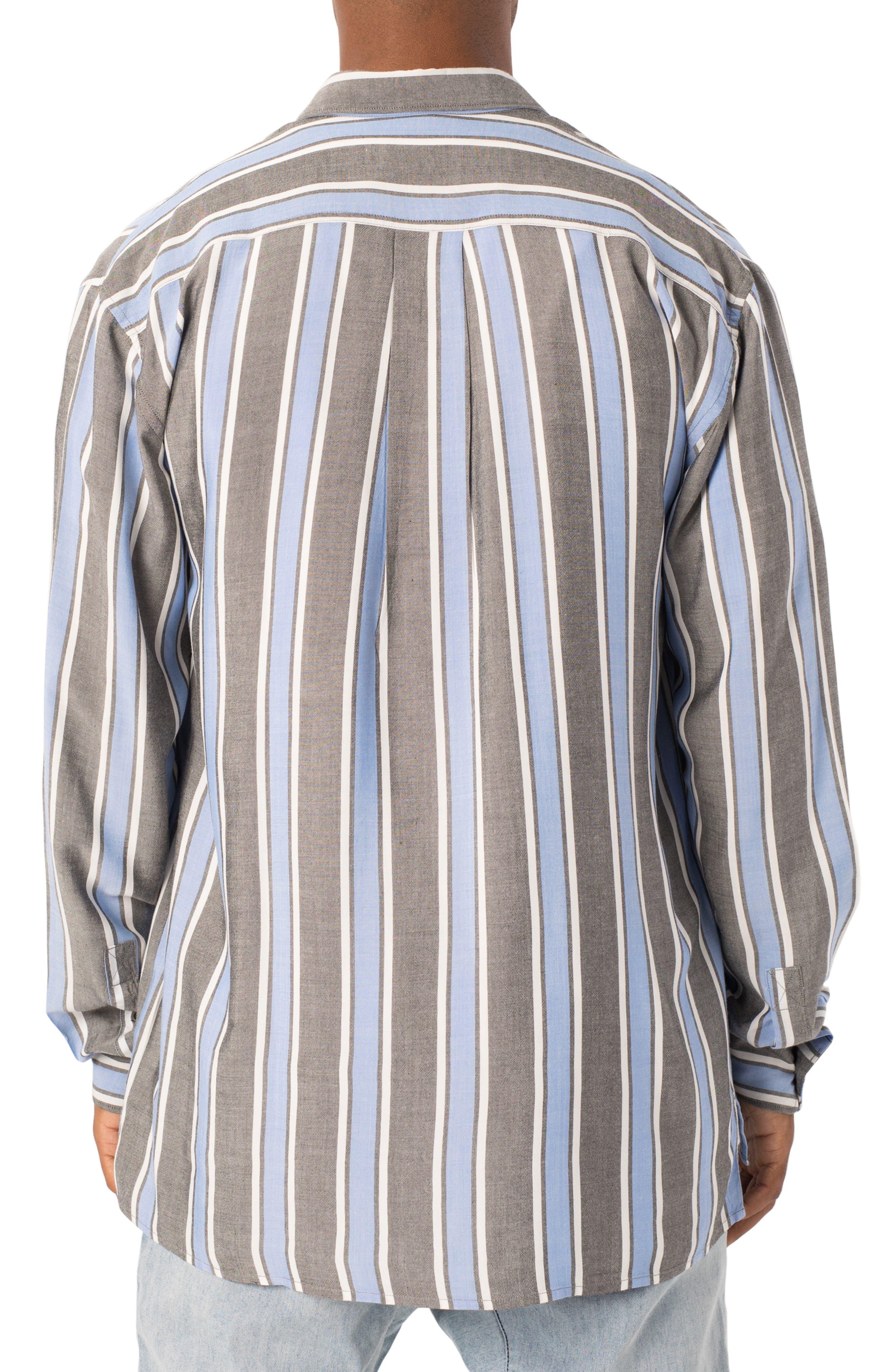Oversize Stripe Sport Shirt,                             Alternate thumbnail 2, color,                             BLACK/ COBALT
