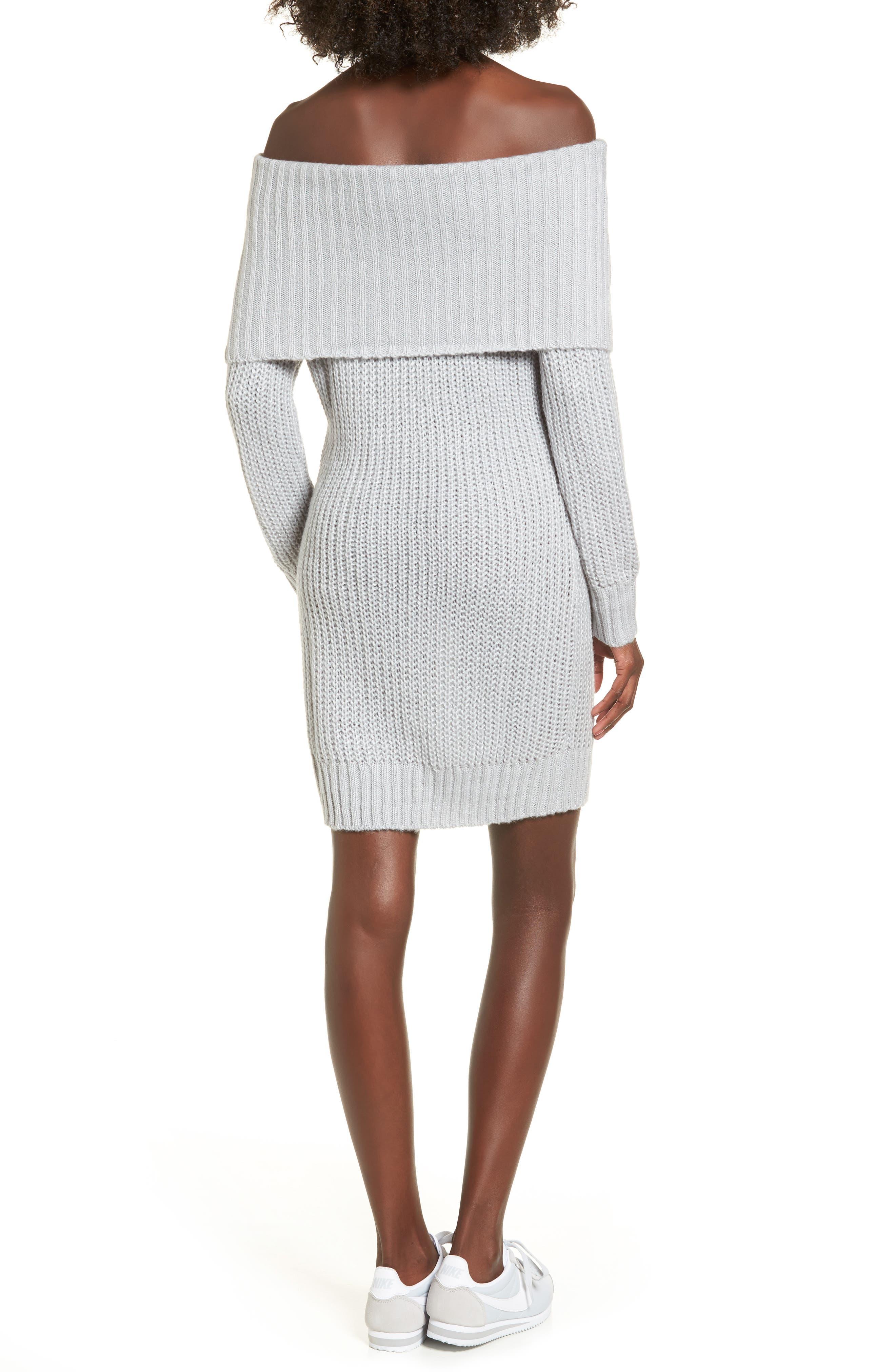 Foldover Off the Shoulder Sweater Dress,                             Alternate thumbnail 6, color,