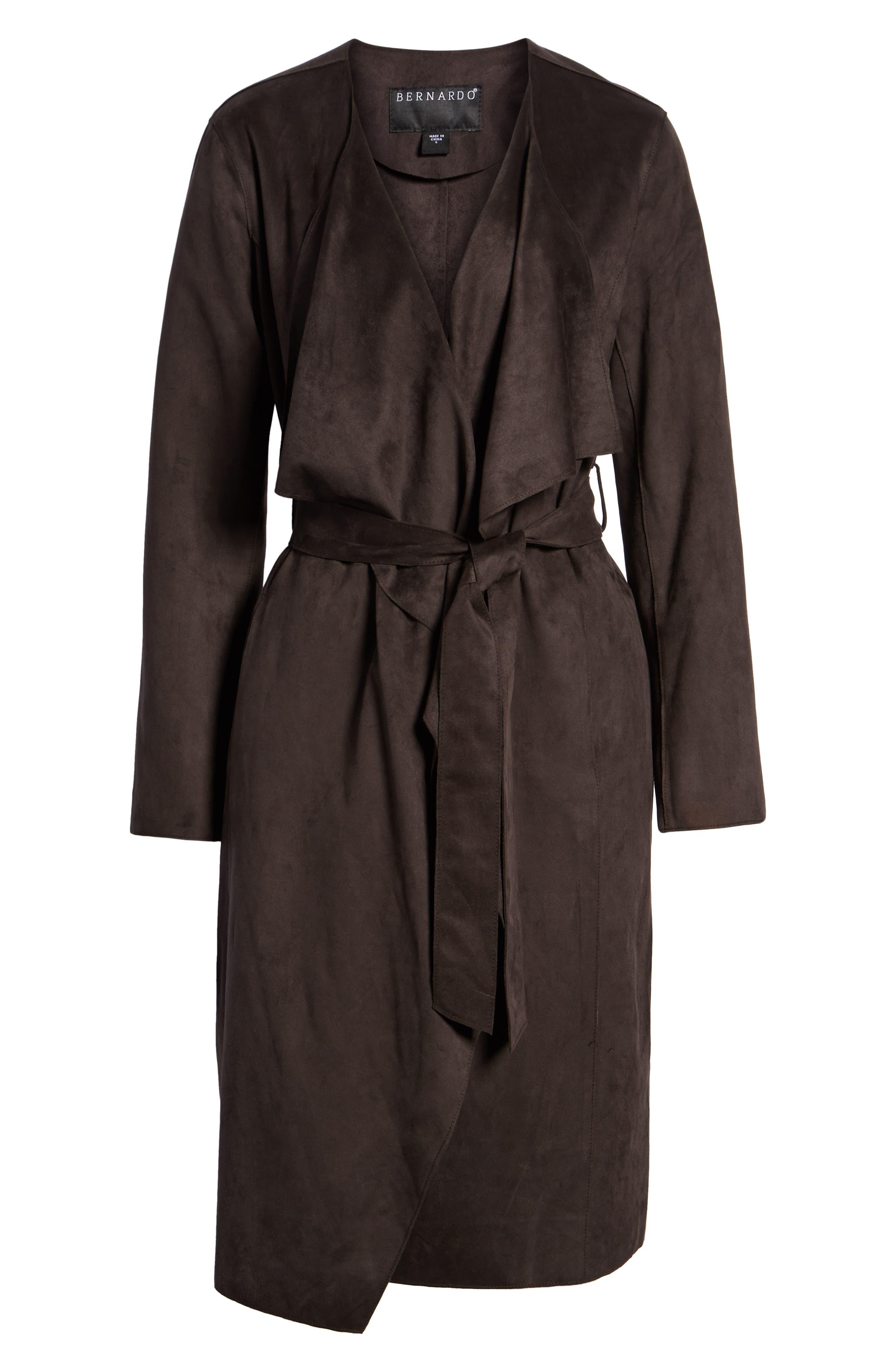Faux Suede Front Drape Trench Coat,                             Alternate thumbnail 6, color,                             201