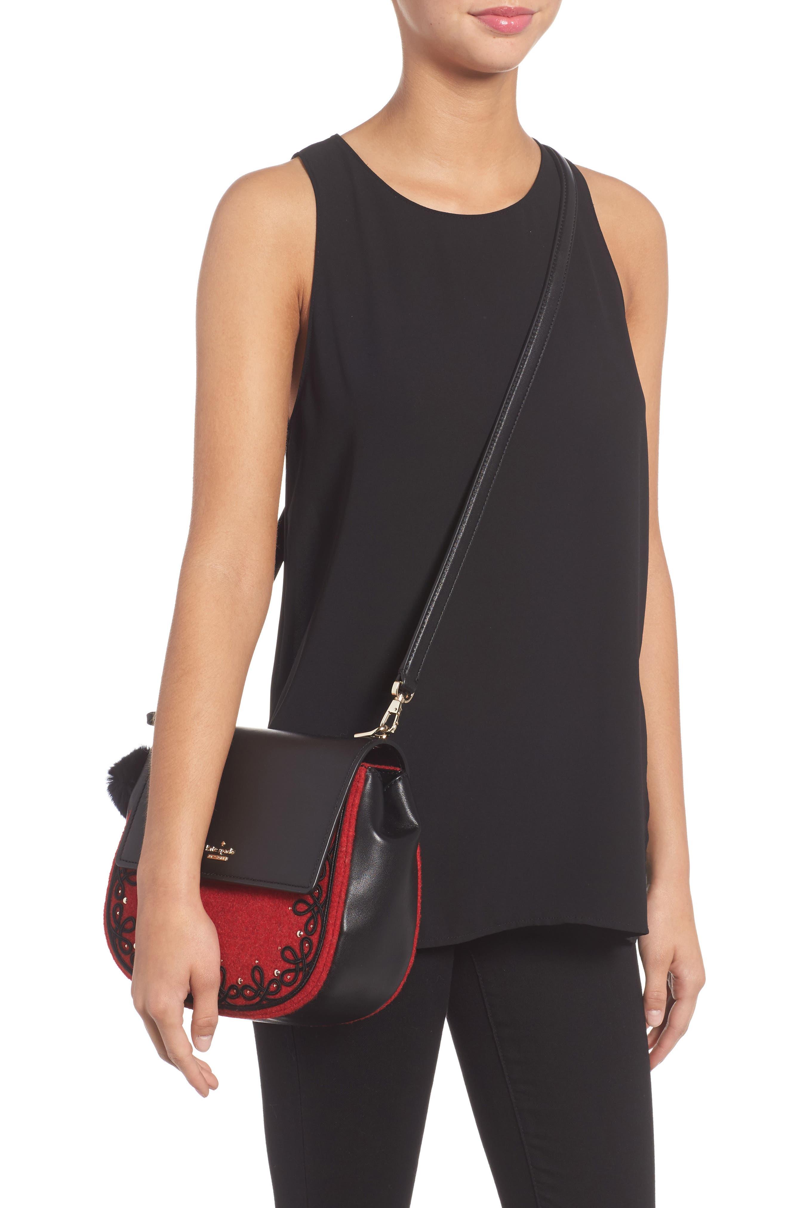 byrne street - byrdie embellished leather & wool saddle bag,                             Alternate thumbnail 2, color,                             631
