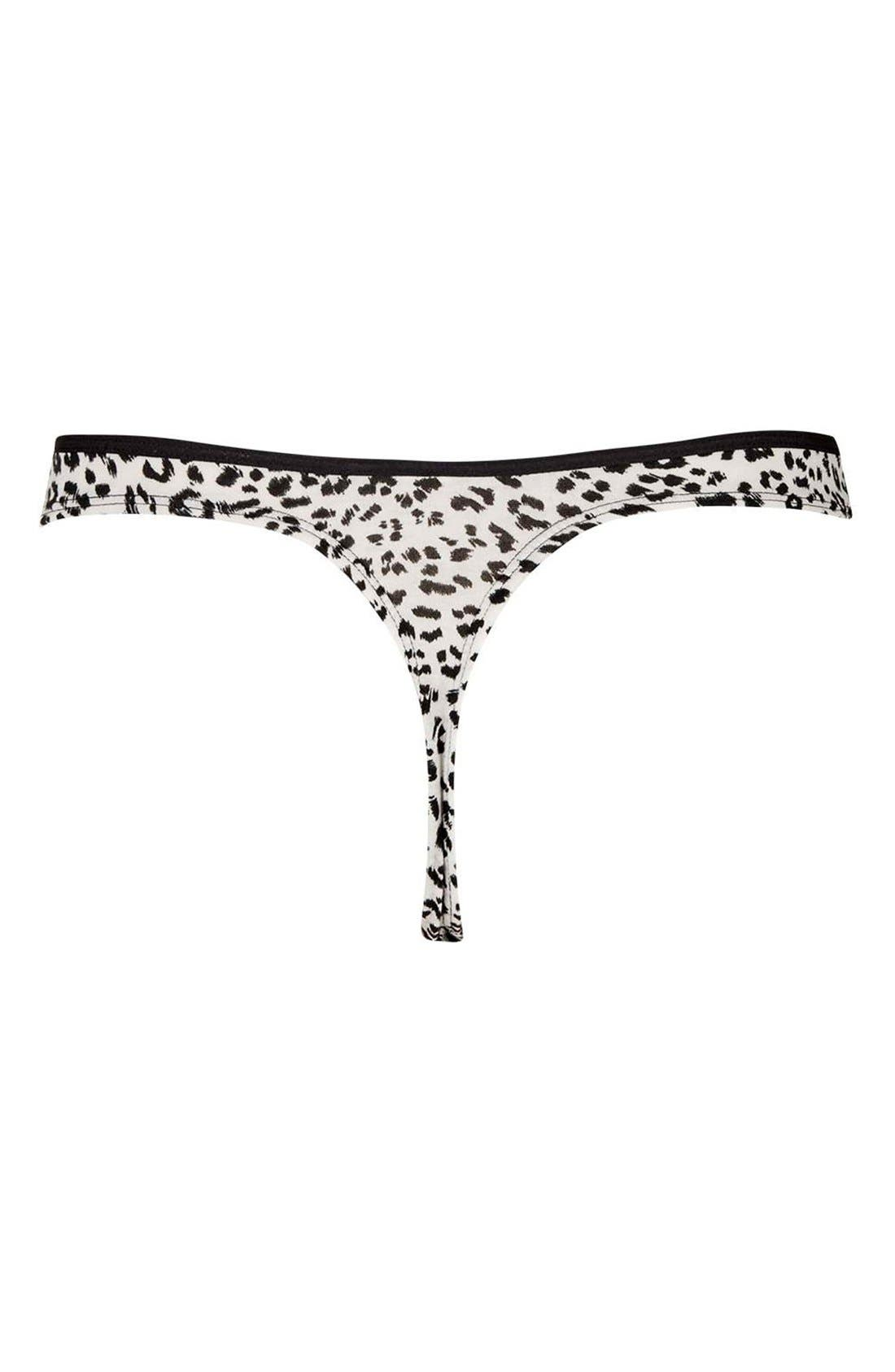 Leopard Print Thong,                             Alternate thumbnail 2, color,                             020