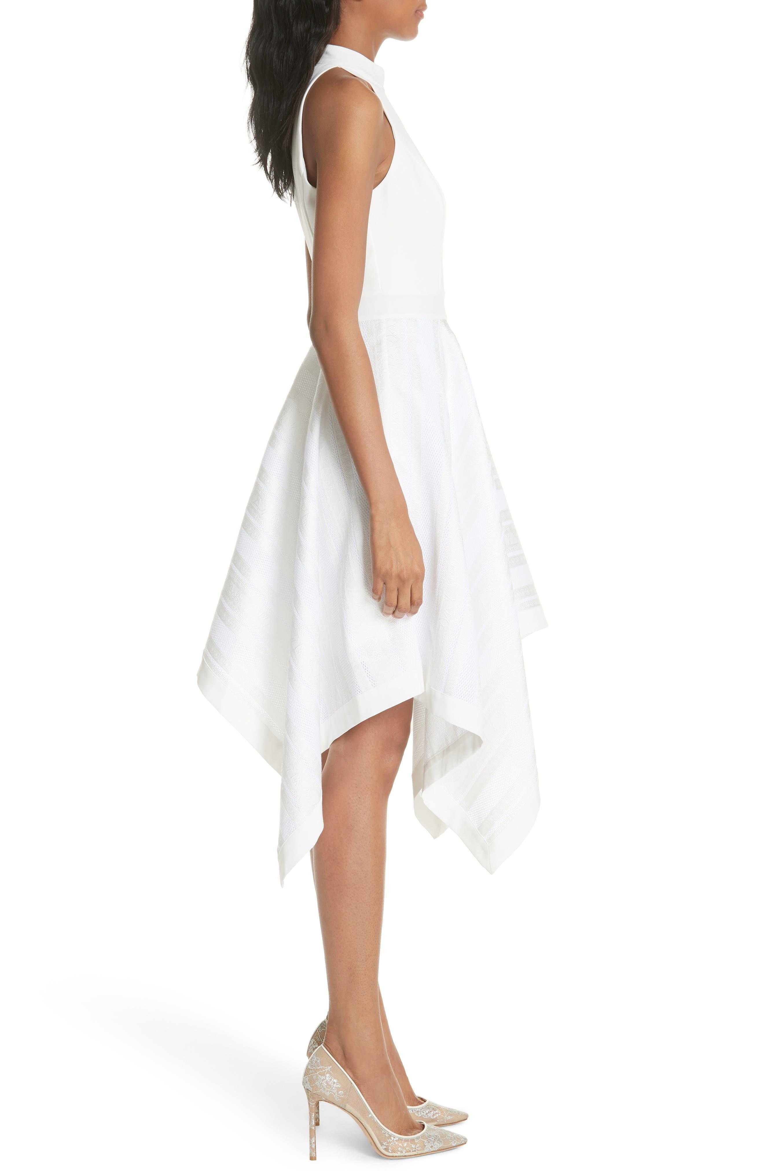 Draped Fit & Flare Dress,                             Alternate thumbnail 3, color,                             110