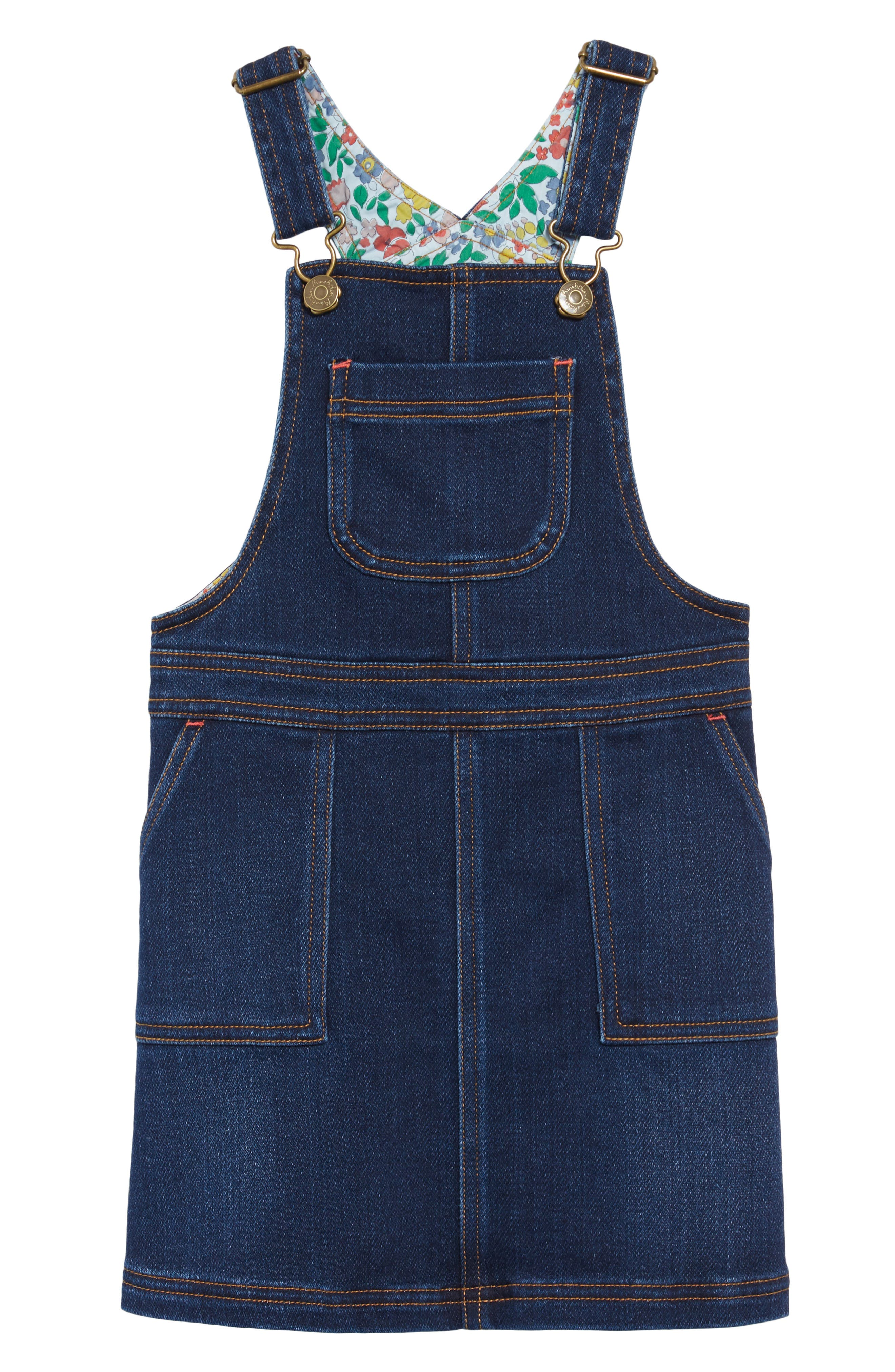 Denim Dungaree Overall Dress,                         Main,                         color, MID VINTAGE