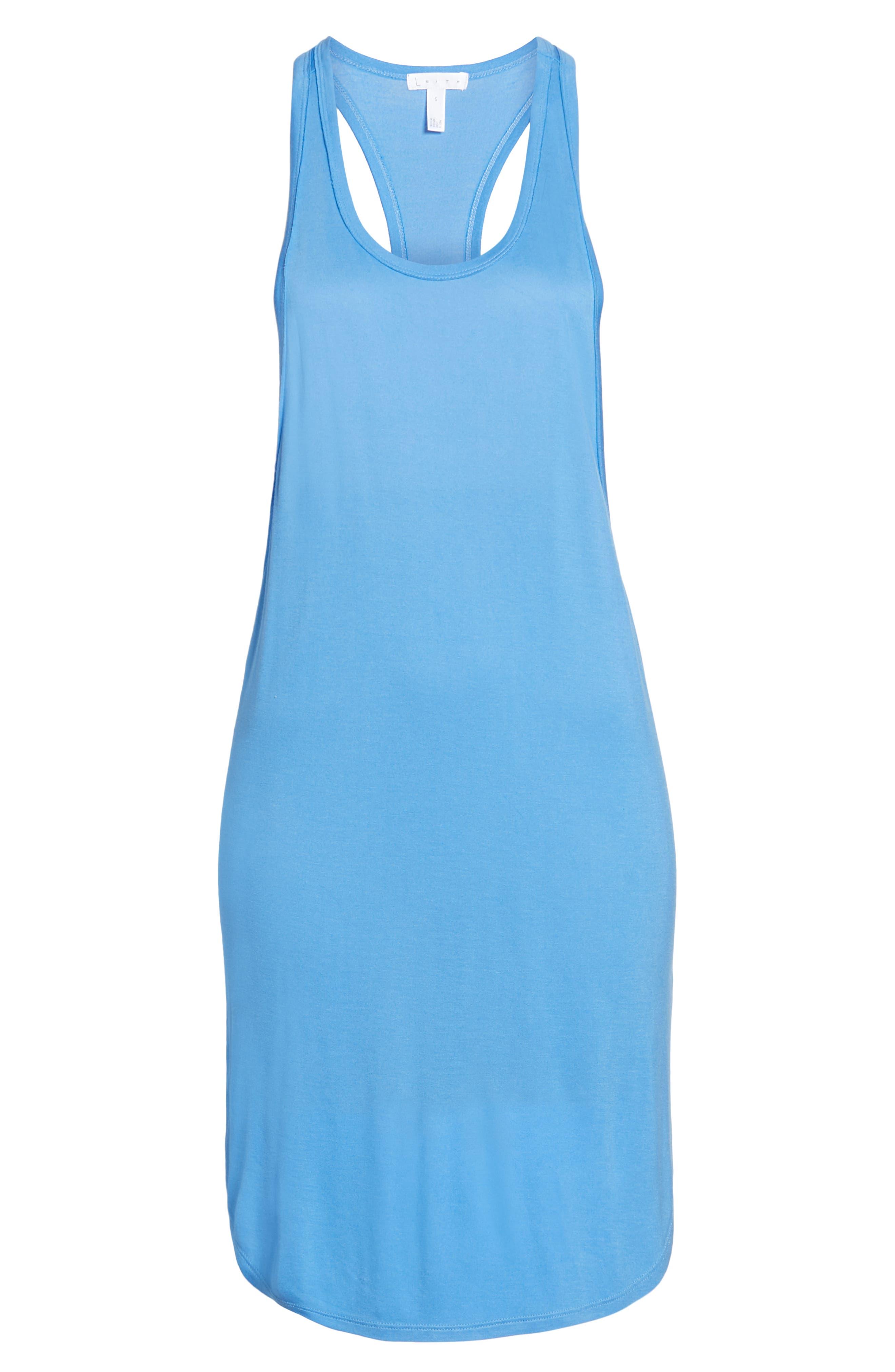 Racerback Cover-Up Tank Dress,                             Alternate thumbnail 6, color,                             BLUE LAPIS