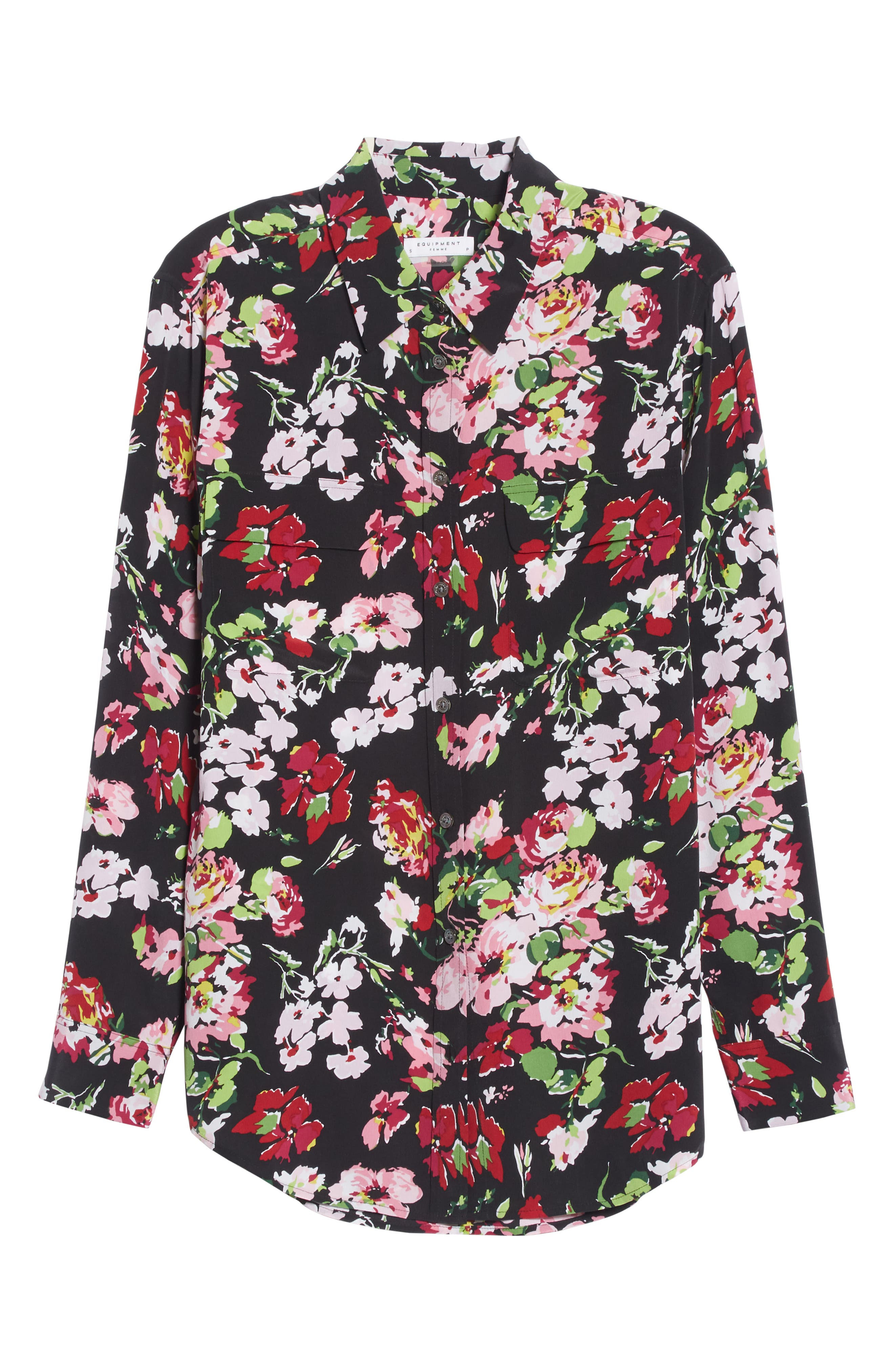Signature Floral Silk Shirt,                             Alternate thumbnail 6, color,                             009