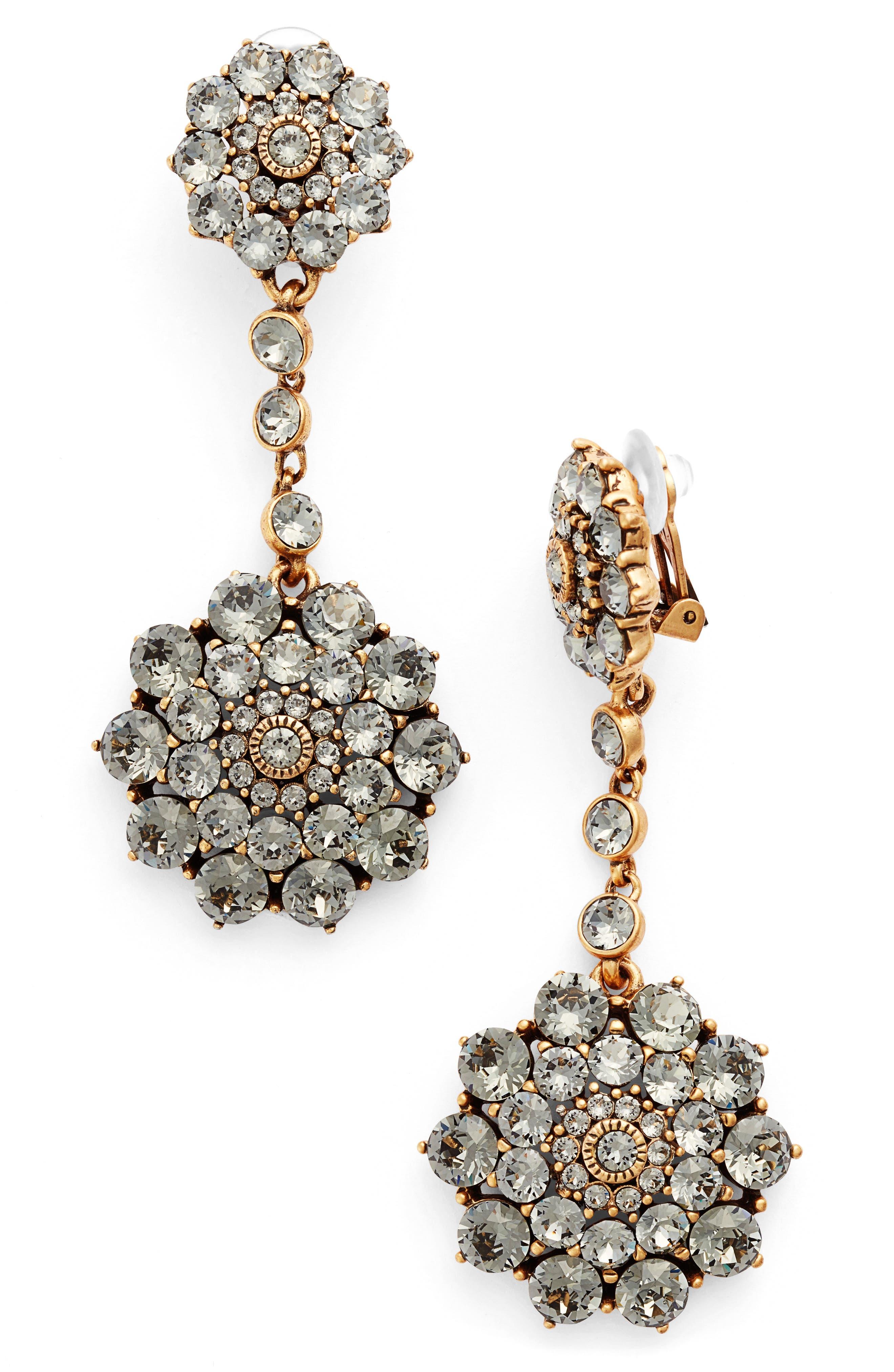 'Classic Jeweled' Swarovski Crystal Drop Earrings,                             Alternate thumbnail 2, color,                             BLACK