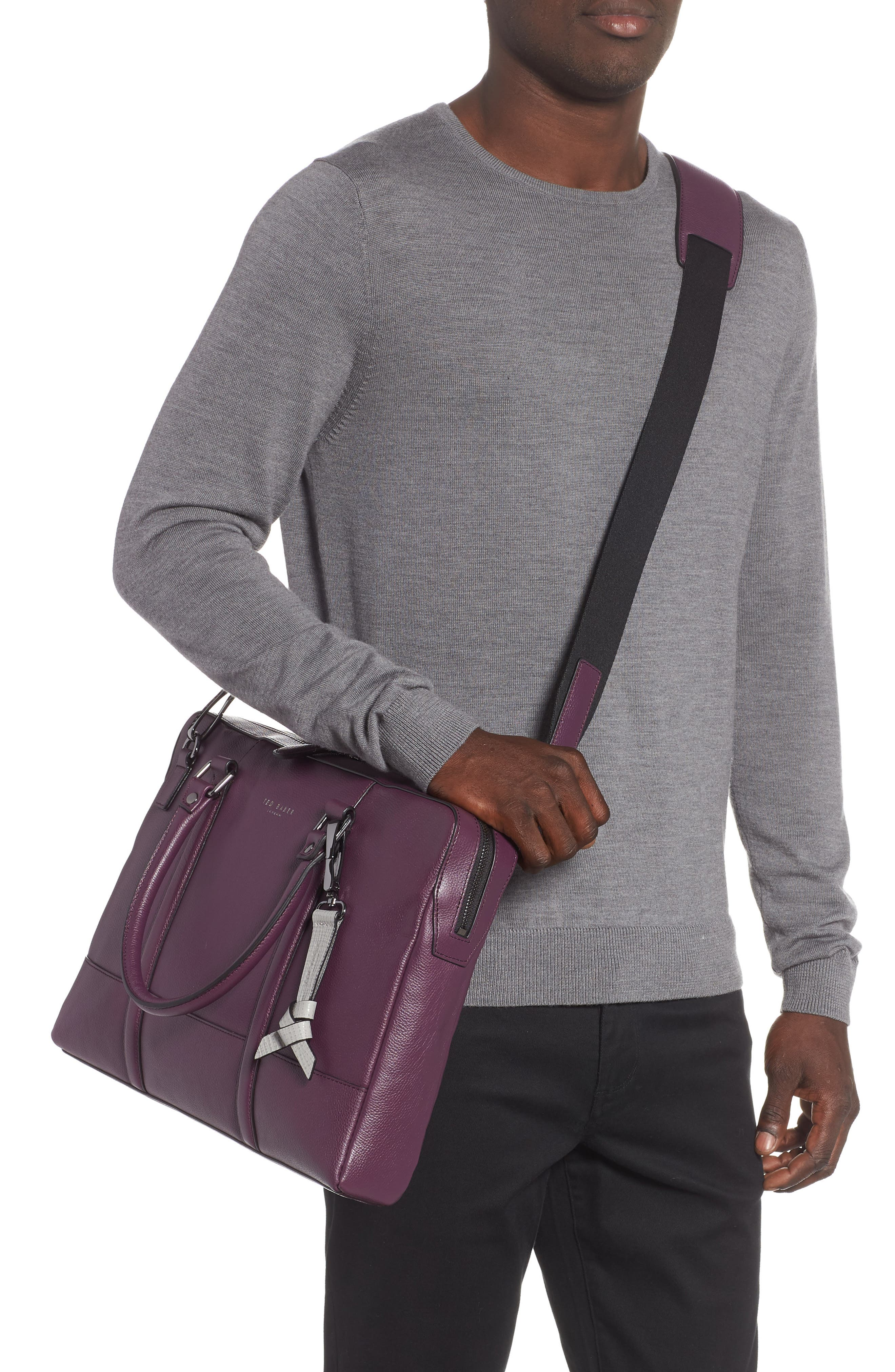 TED BAKER LONDON,                             Hoooch Leather Briefcase,                             Alternate thumbnail 2, color,                             501