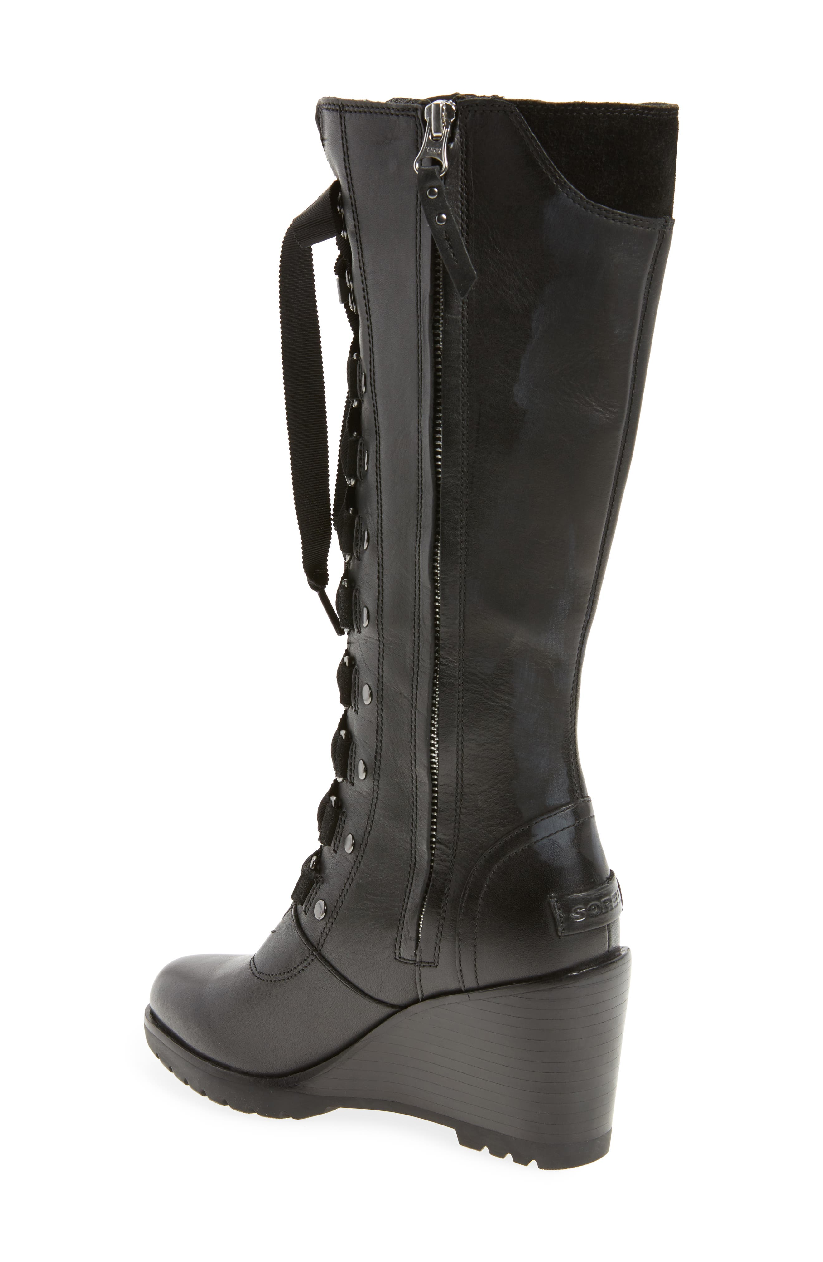 After Hours Lace Up Wedge Boot,                             Alternate thumbnail 2, color,                             010