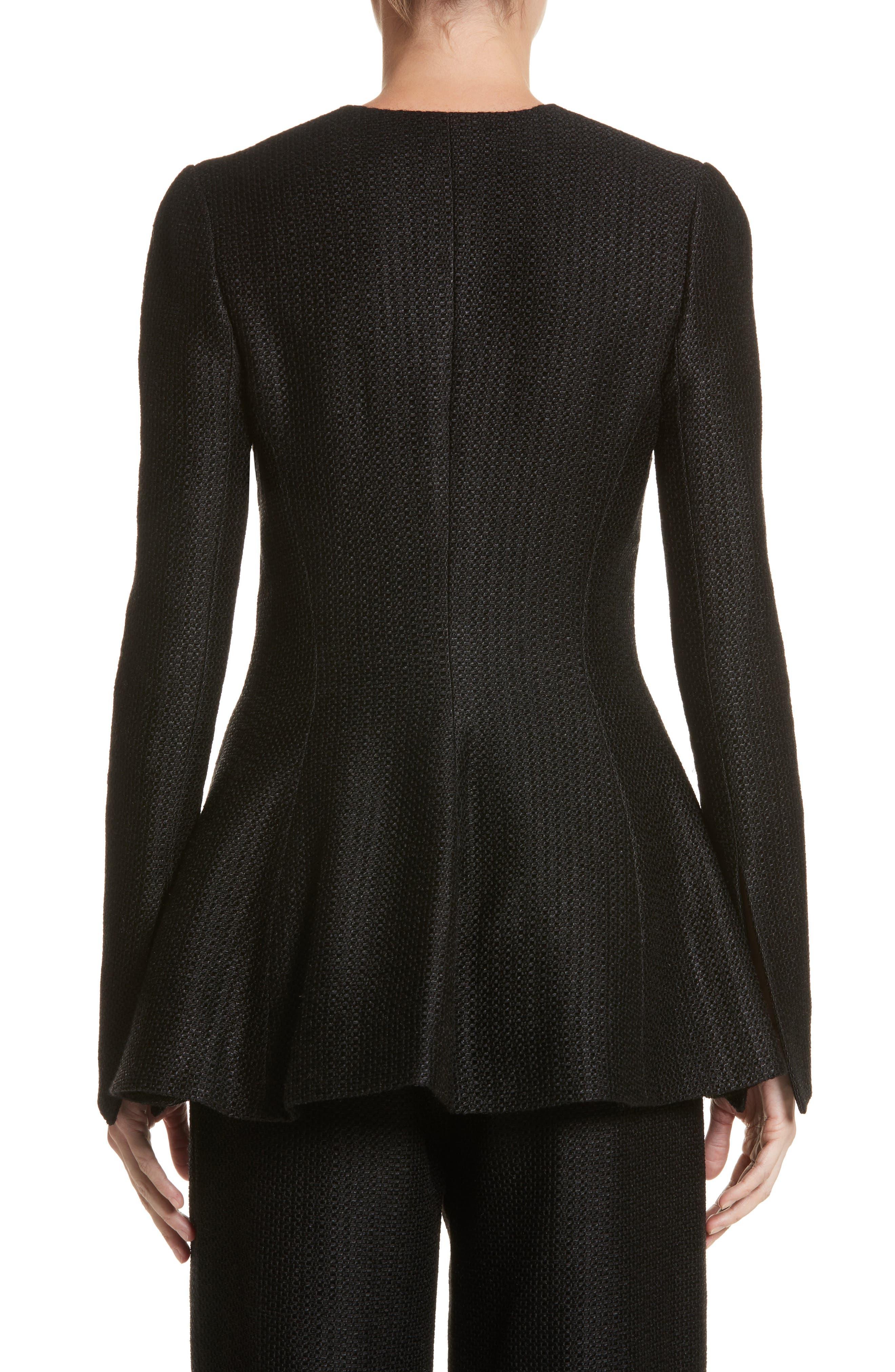 Linen & Silk Blend Tweed Jacket,                             Alternate thumbnail 2, color,                             001