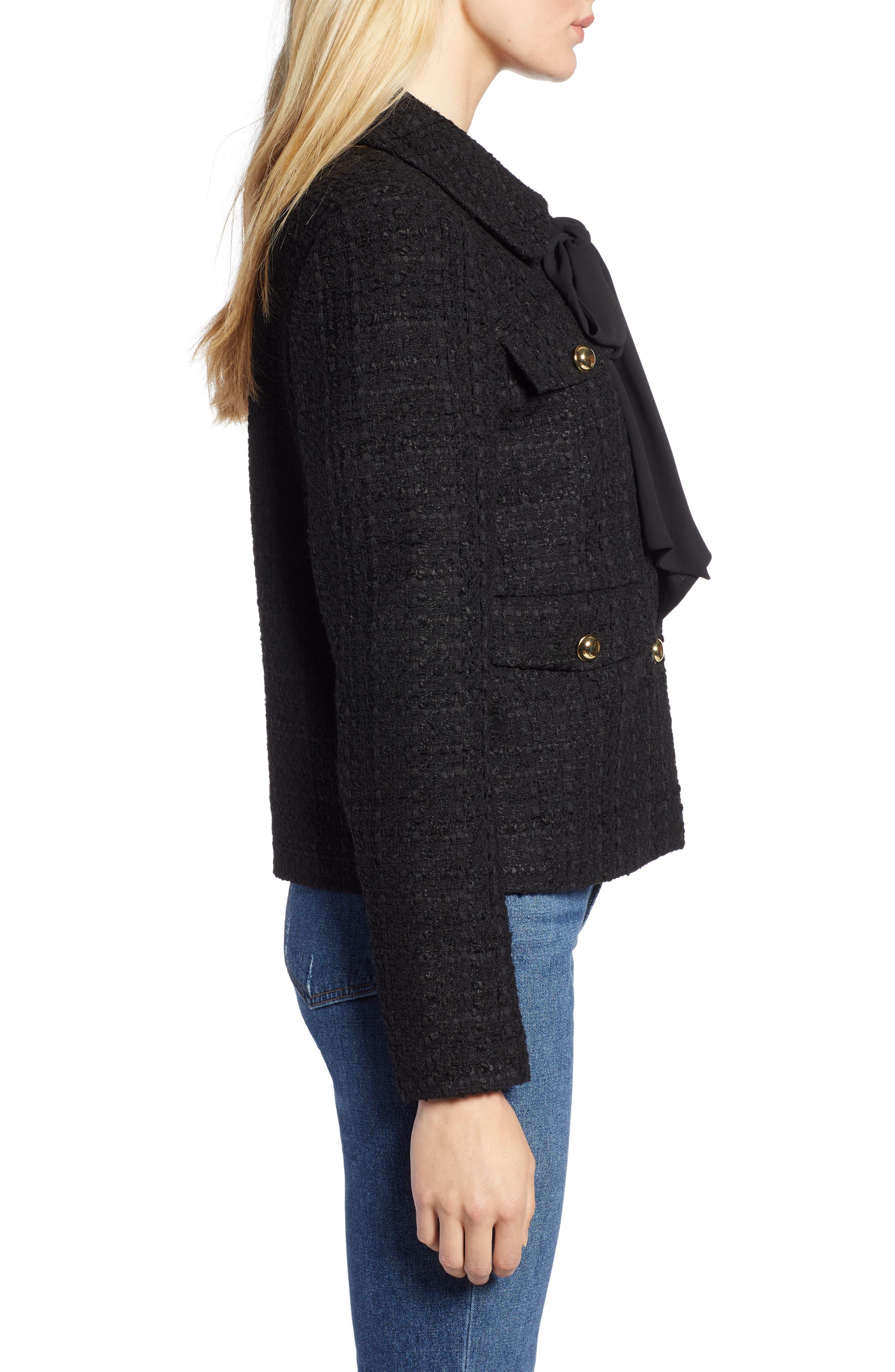 x Atlantic-Pacific Bow Detail Tweed Jacket,                             Alternate thumbnail 4, color,                             BLACK