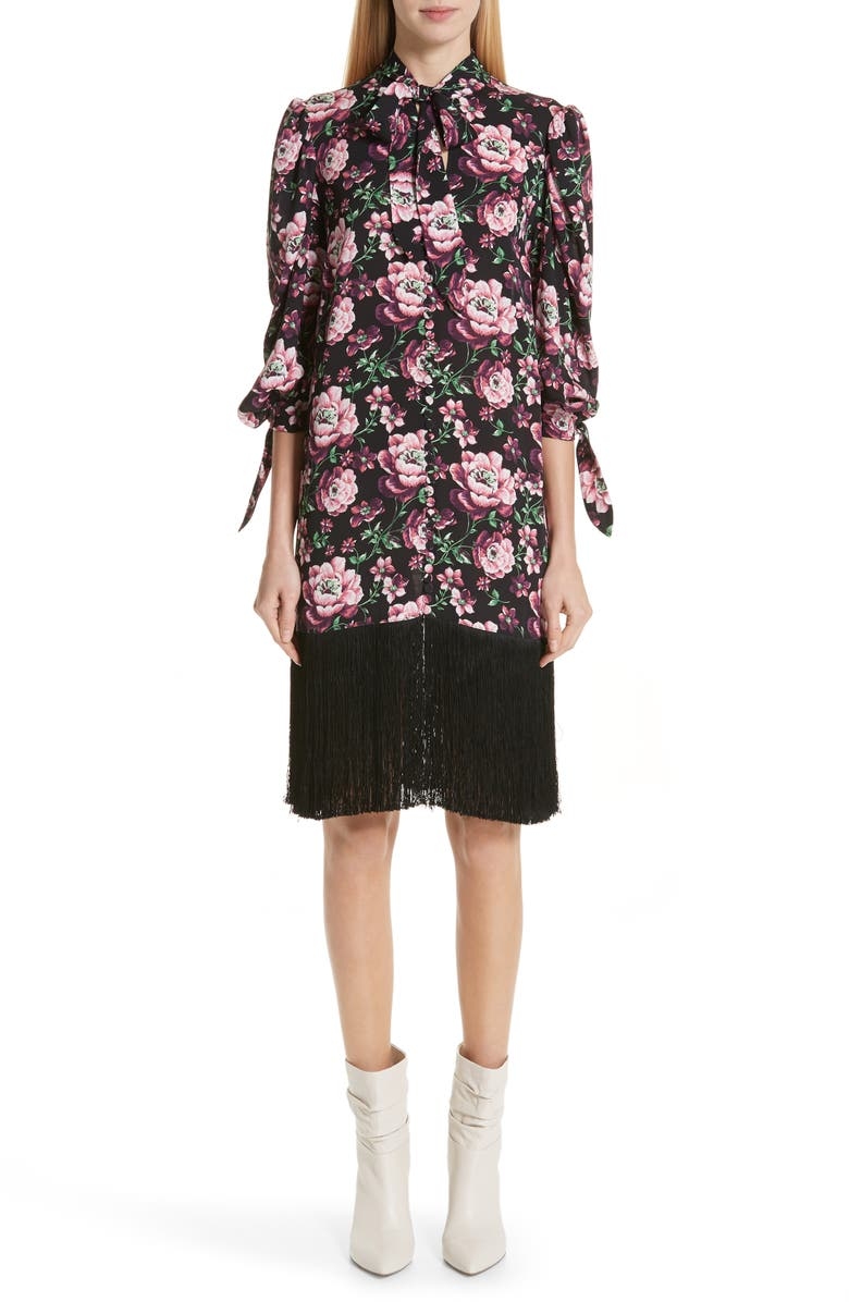 Gaza Floral Print Fringe Hem Silk Dress