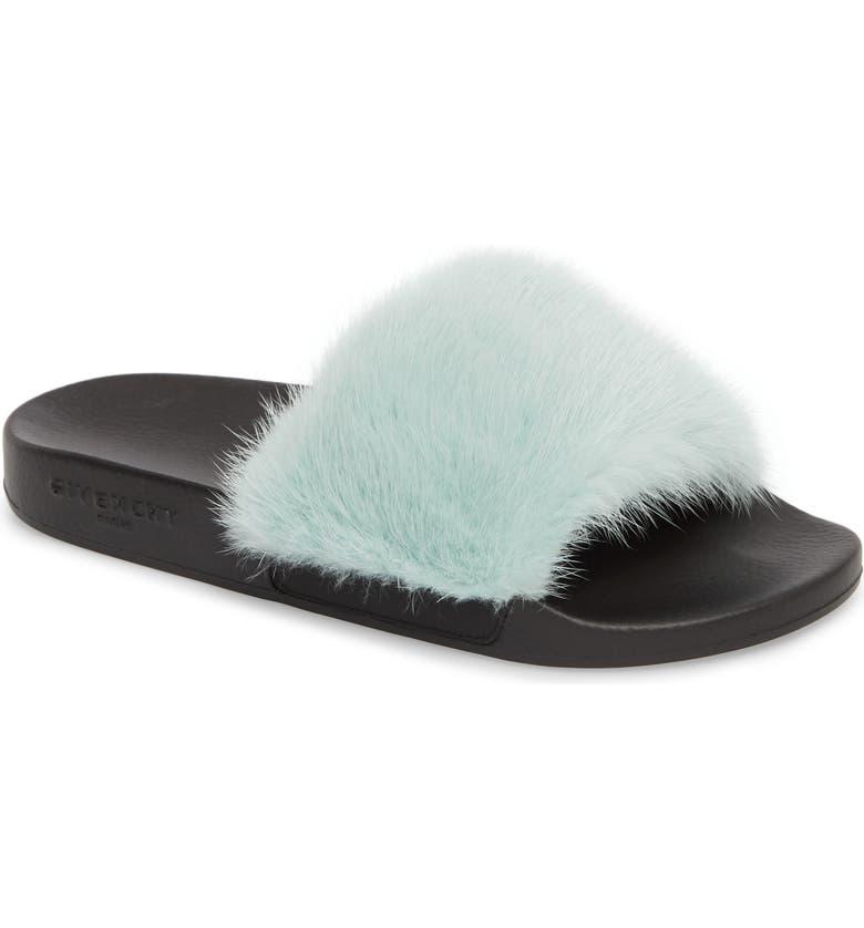 7a20f6adb31 GIVENCHY Genuine Mink Fur Slide Sandal
