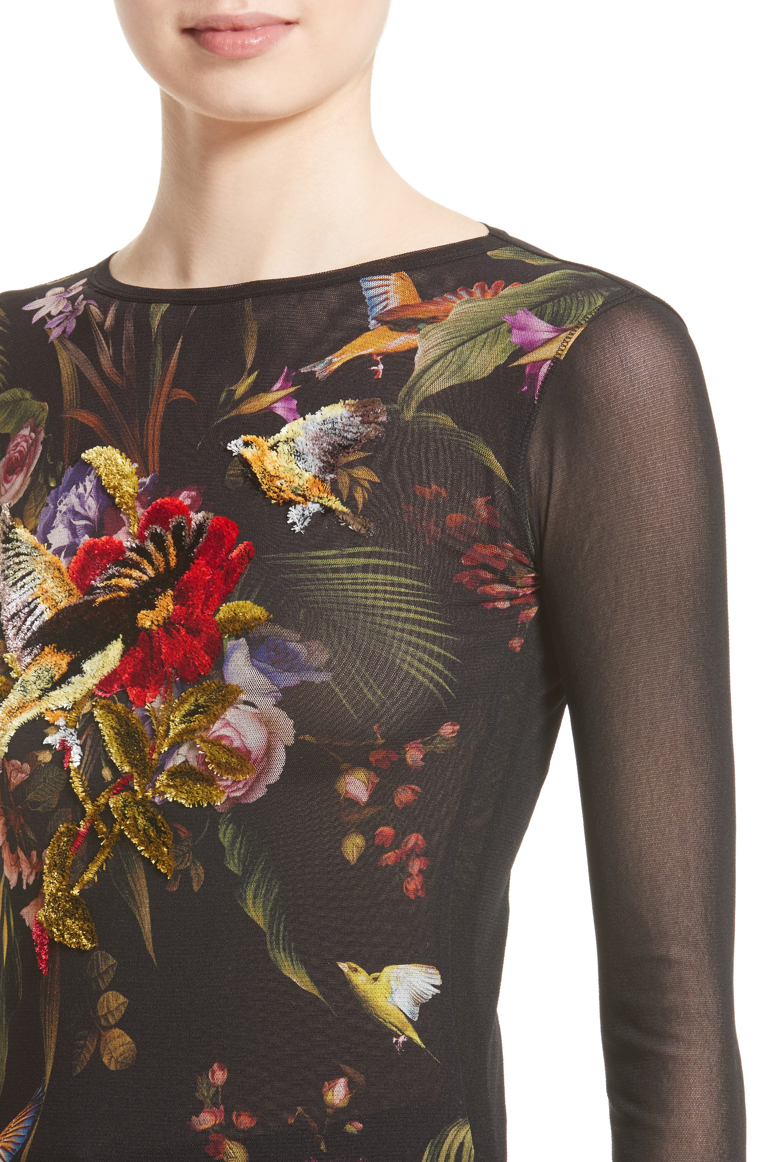 Embroidered Tulle Top,                             Alternate thumbnail 4, color,