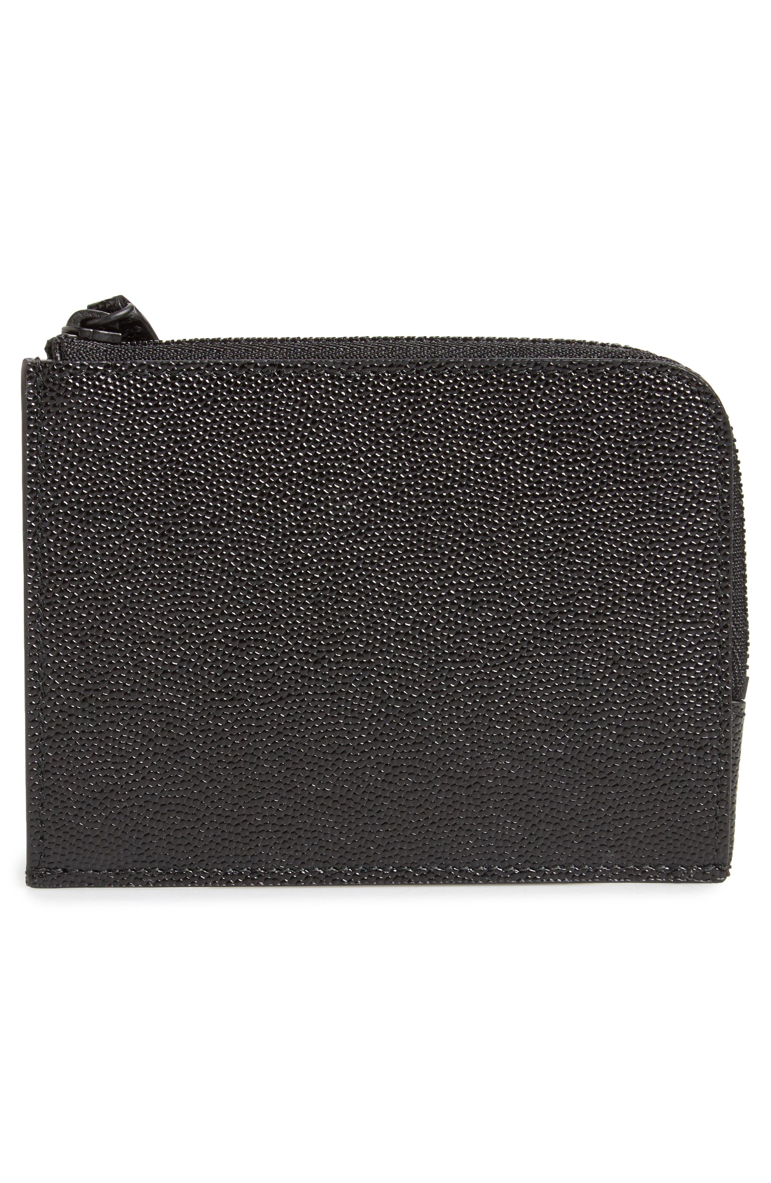 Pebble Leather Zip Wallet,                             Alternate thumbnail 3, color,                             001