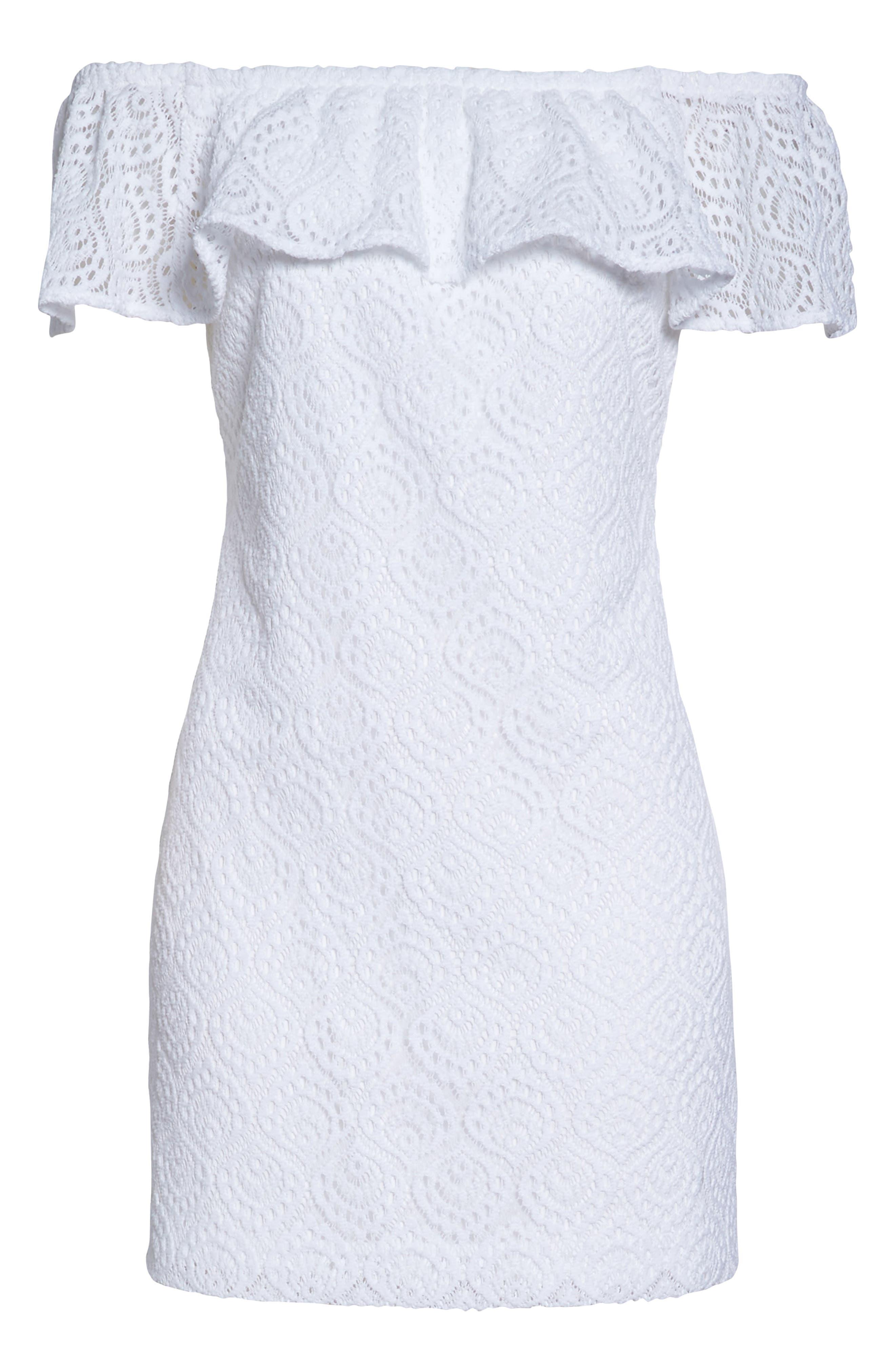 La Fortuna Off the Shoulder Lace Dress,                             Alternate thumbnail 6, color,                             100