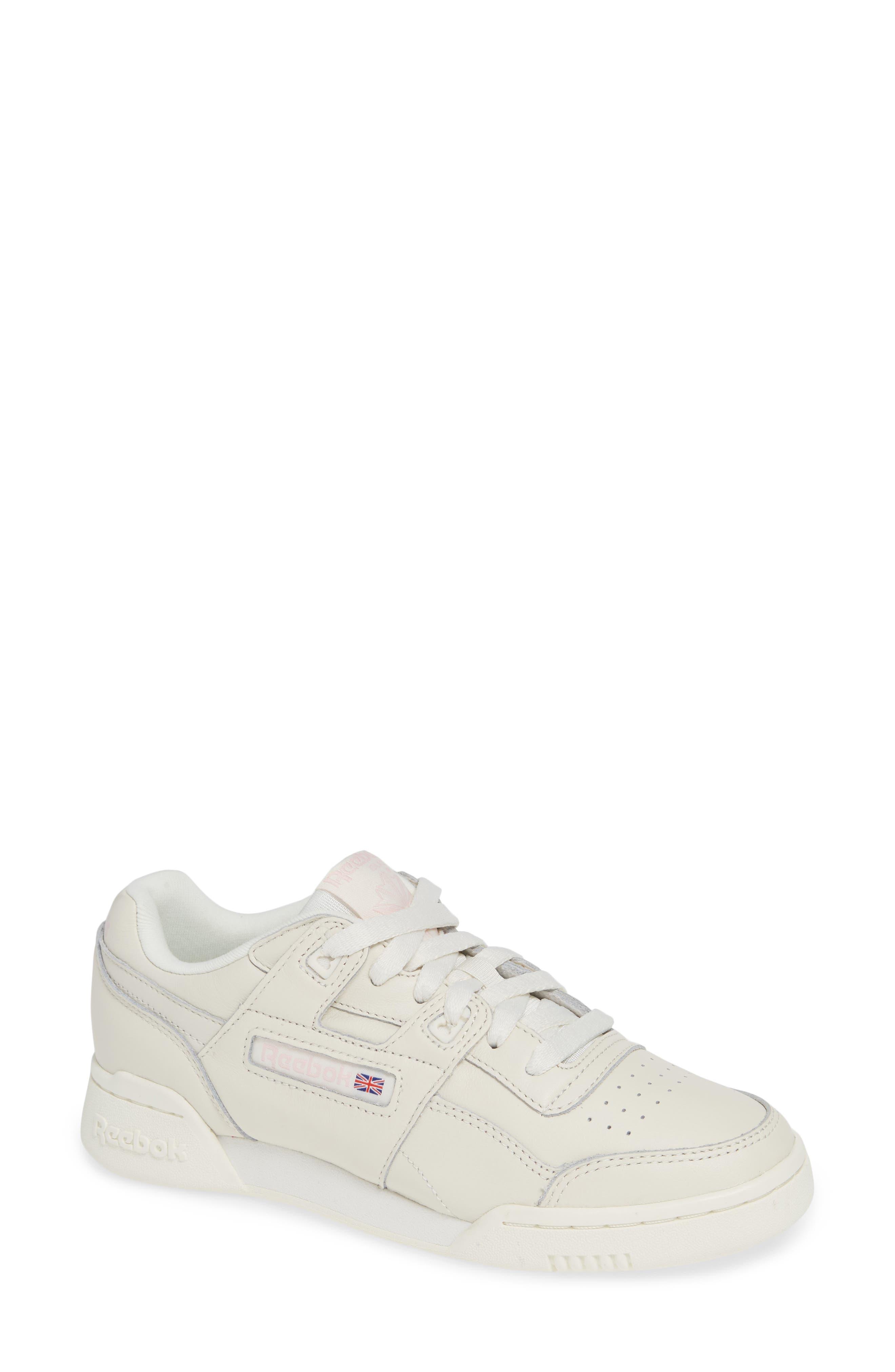 Workout Low Plus Sneaker,                             Main thumbnail 1, color,                             WHITE/ PRACTICAL PINK