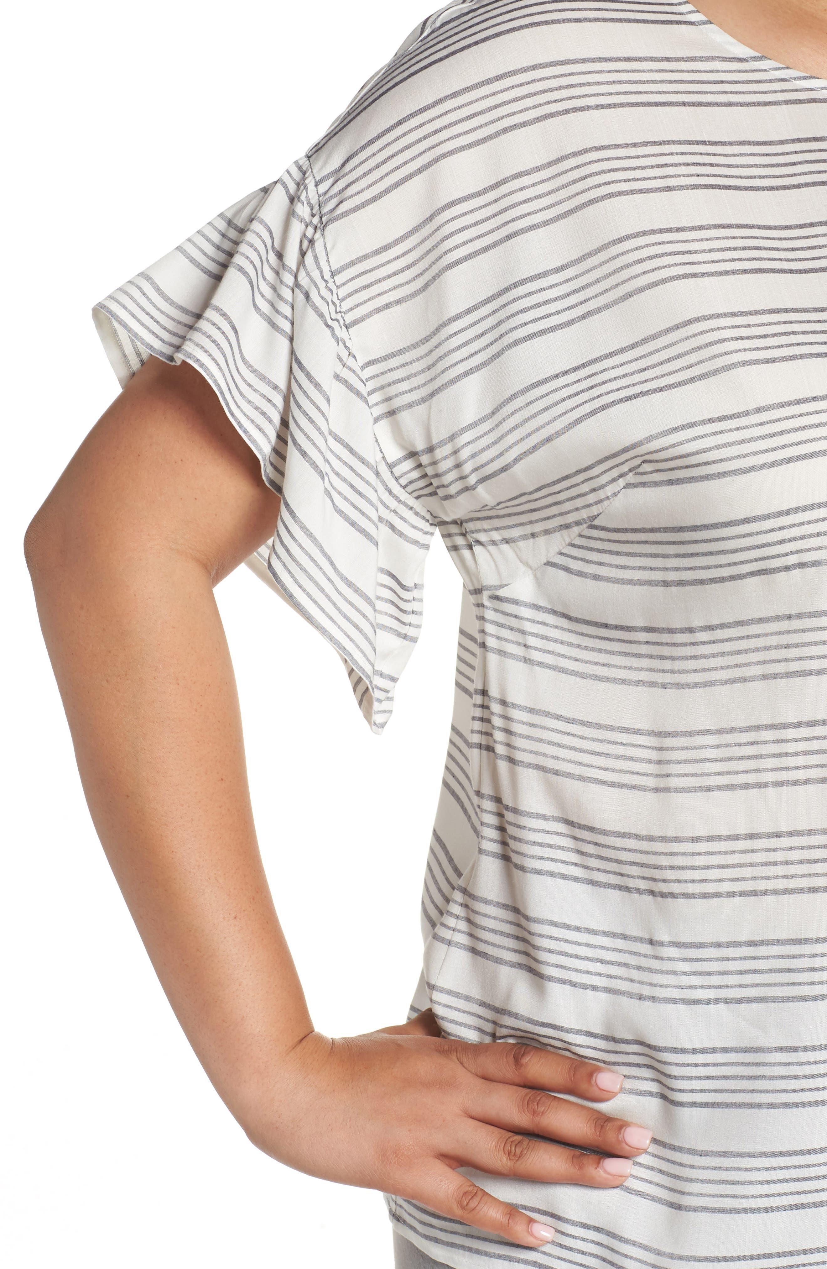 Ruffle Sleeve Bar Stripe Top,                             Alternate thumbnail 4, color,                             NEW IVORY