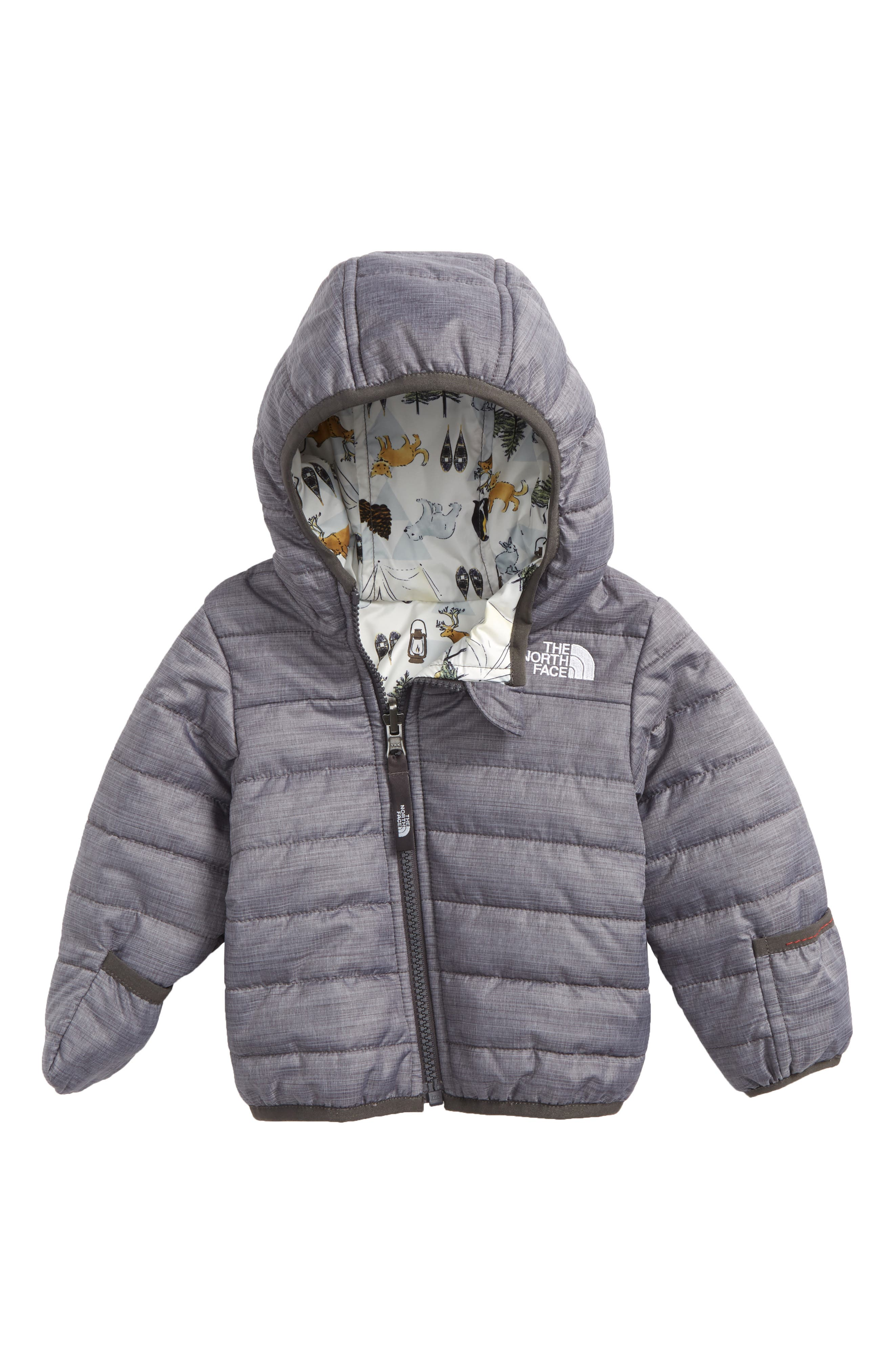 Perrito Reversible Water Repellent Heatseeker<sup>™</sup> Insulated Jacket,                             Main thumbnail 1, color,                             GREY HEATHER/ GRAPHITE GREY