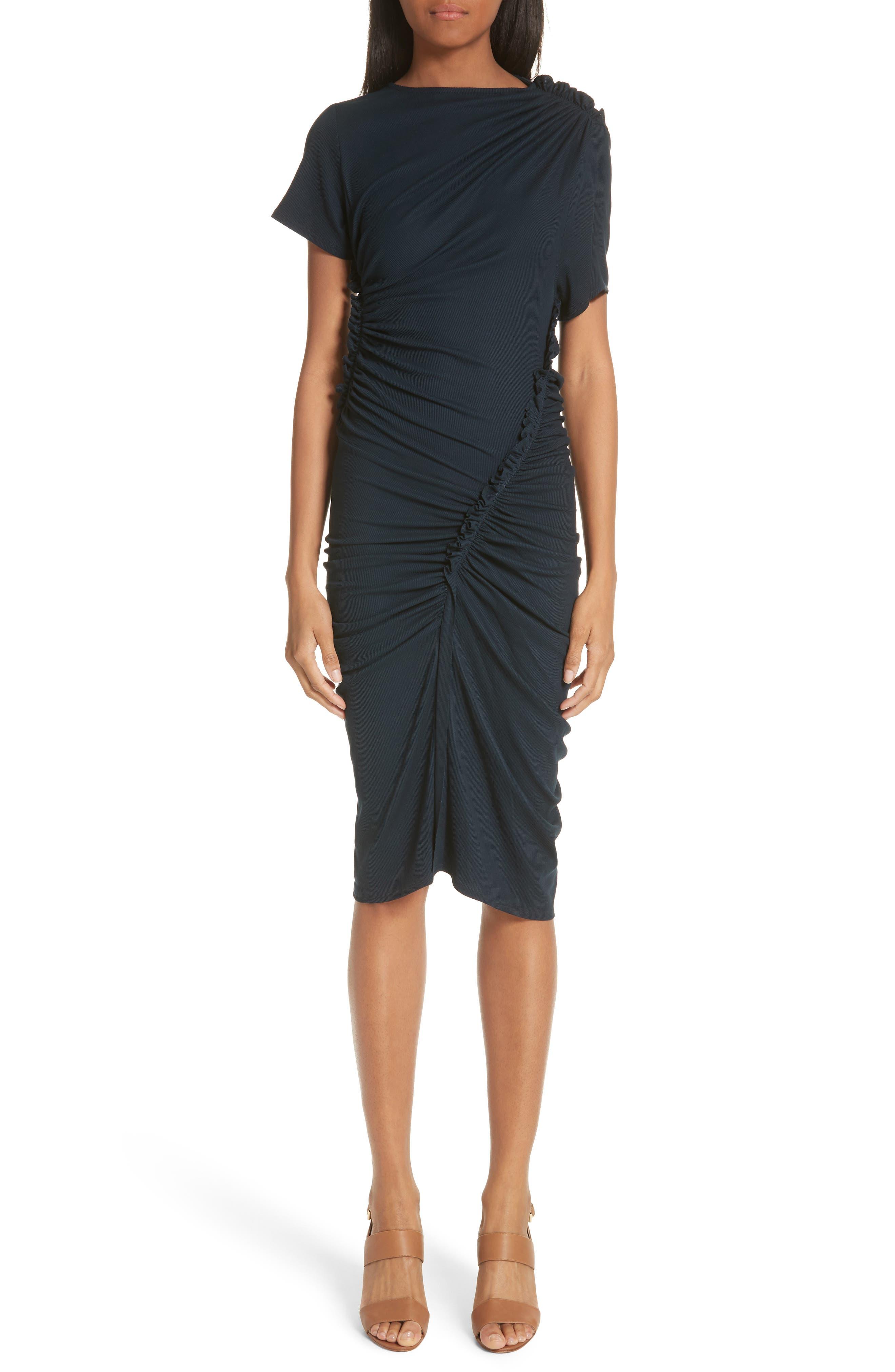 Ruched Rib Knit Dress,                             Main thumbnail 1, color,                             400