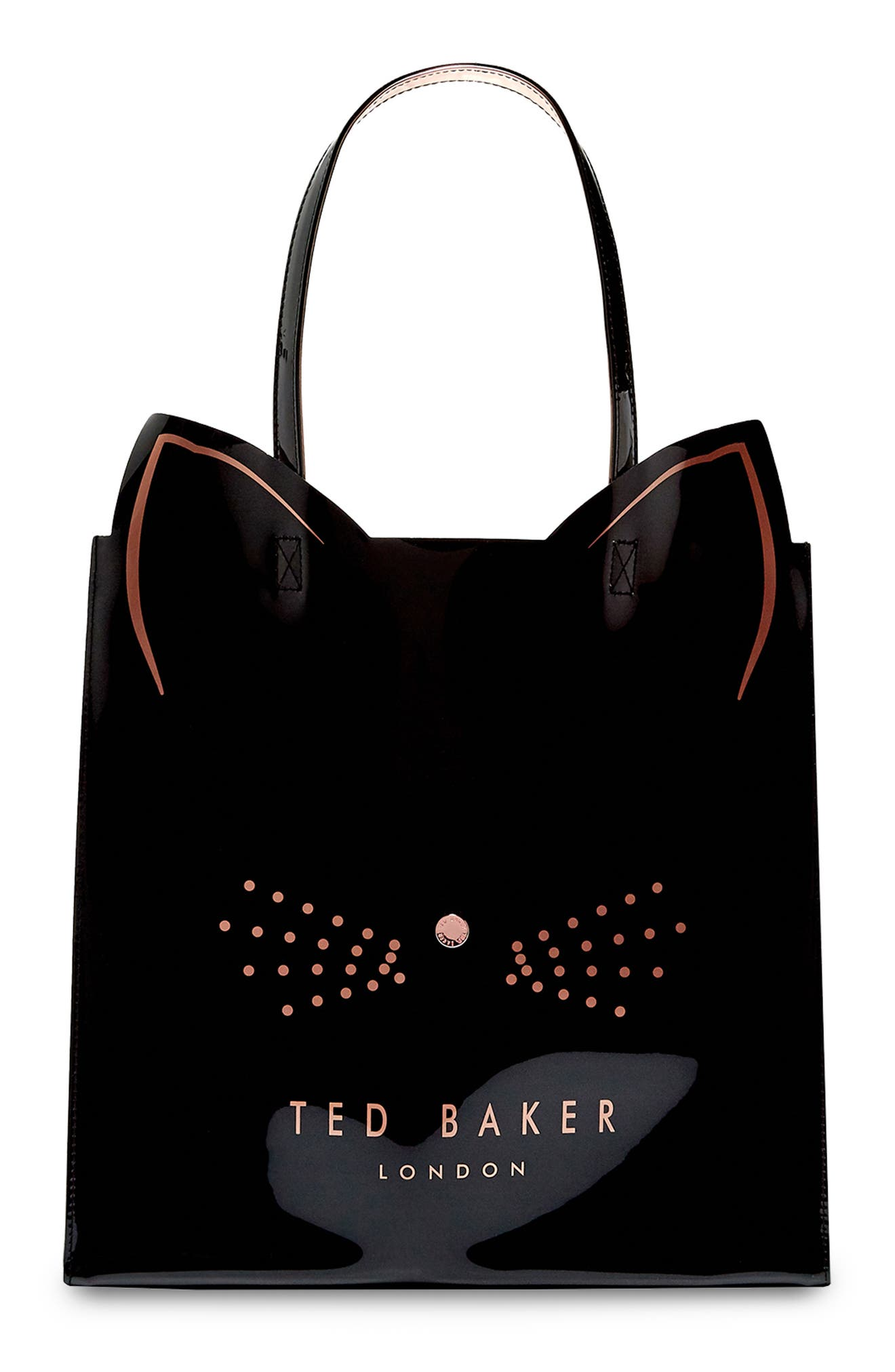 Large Icon Cat Tote,                         Main,                         color, BLACK