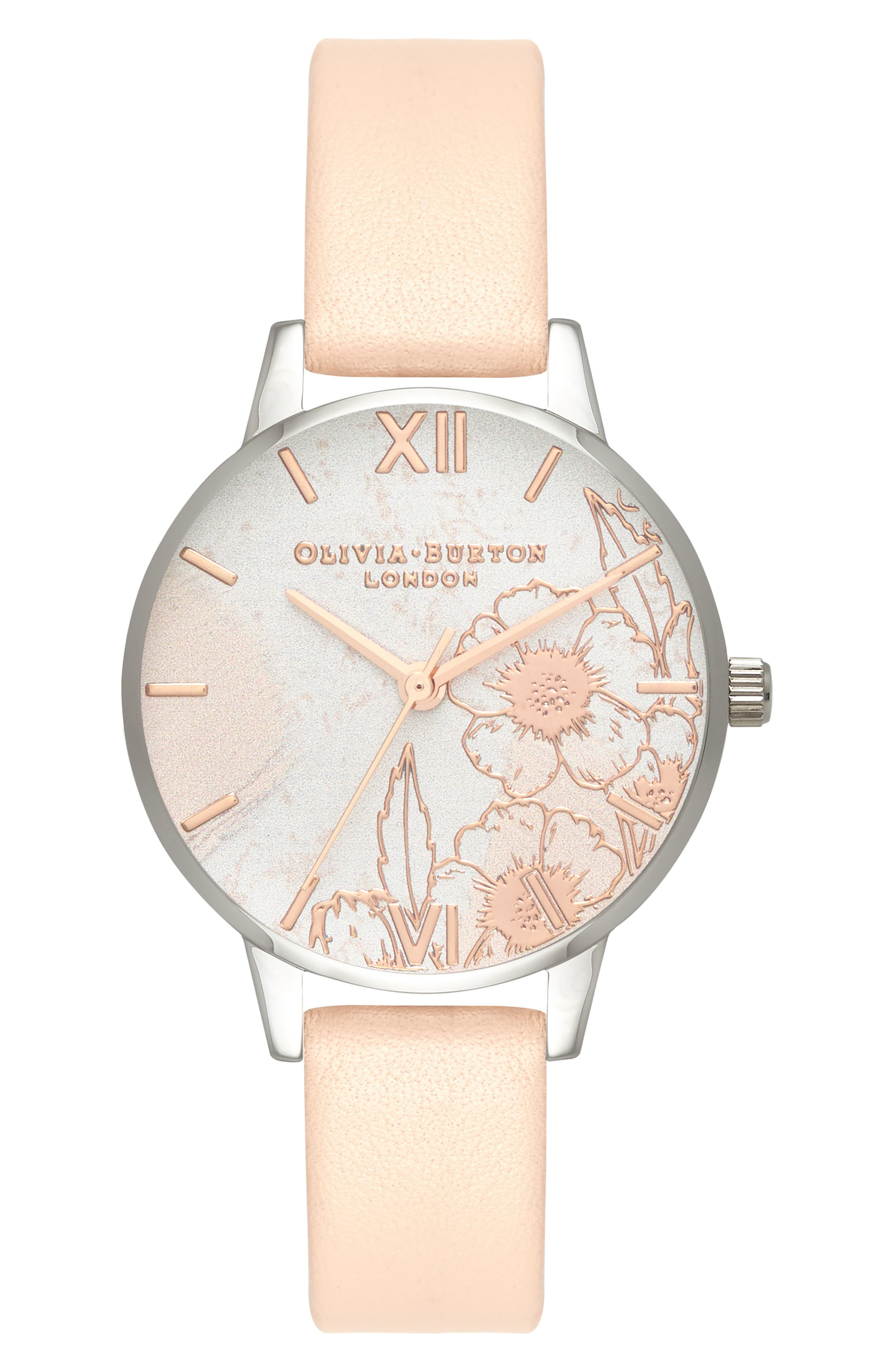 Abstract Floral Leather Strap Watch, 30mm,                         Main,                         color, NUDE PEACH/ FLORAL/ SILVER