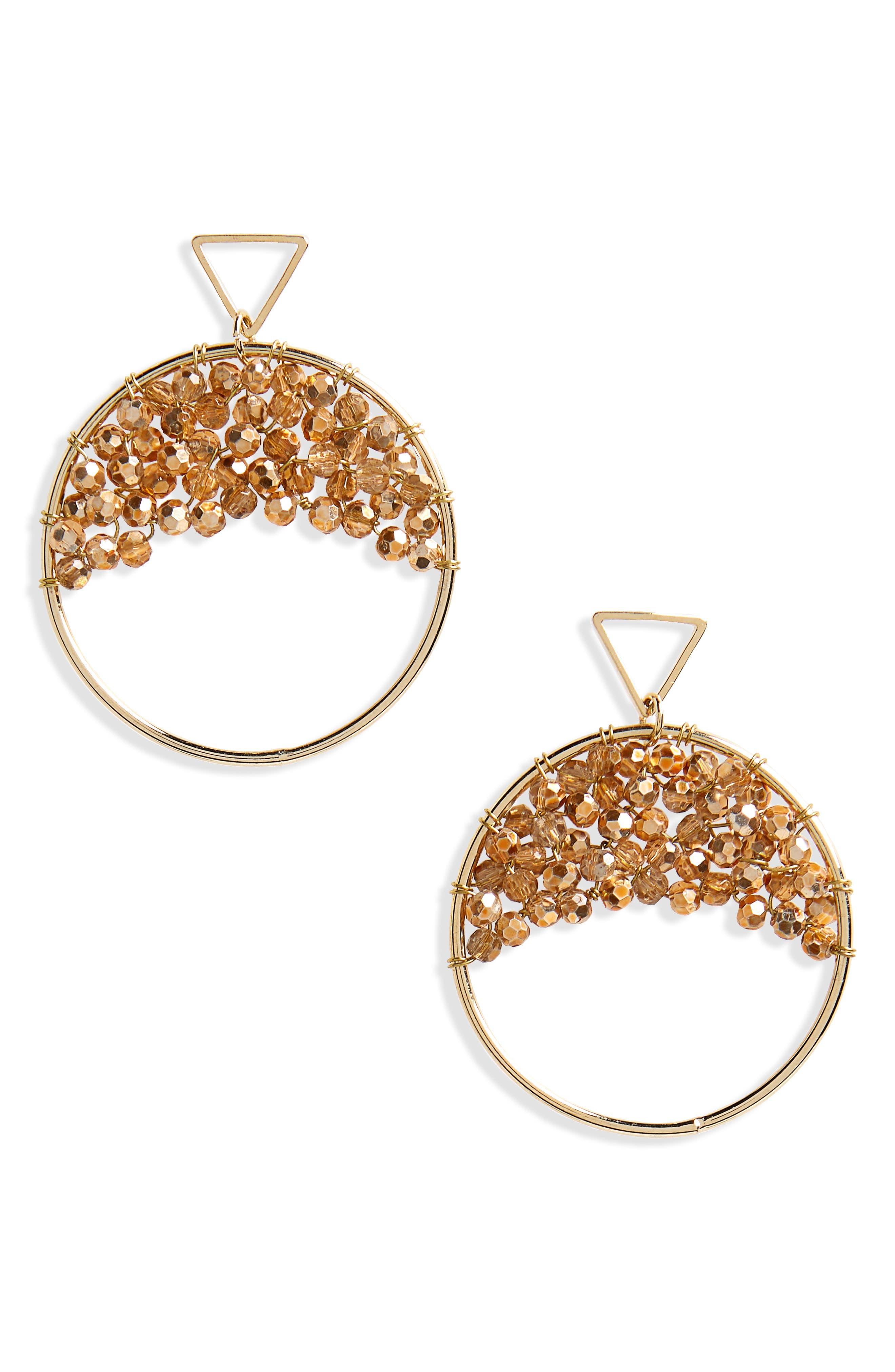 Crystal Beaded Circle Earrings,                             Main thumbnail 1, color,                             CHAMPAGNE