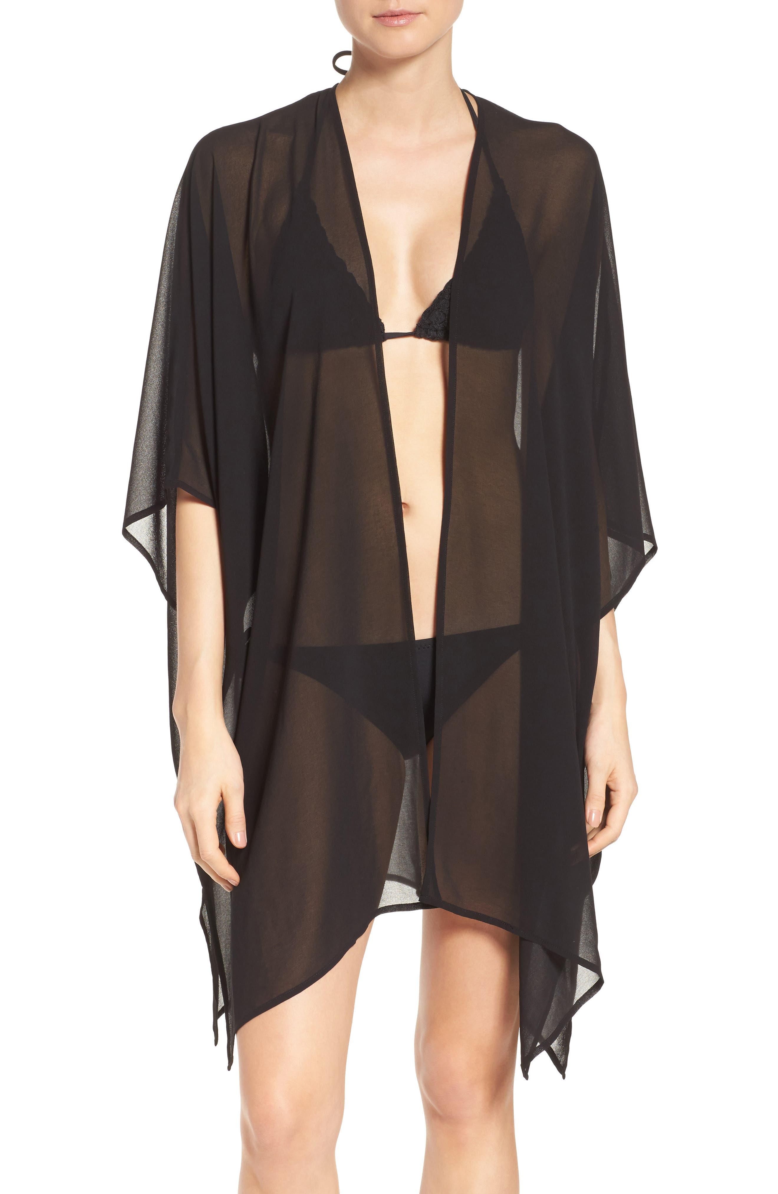 Chiffon Cover-Up Kimono,                             Main thumbnail 1, color,                             BLACK