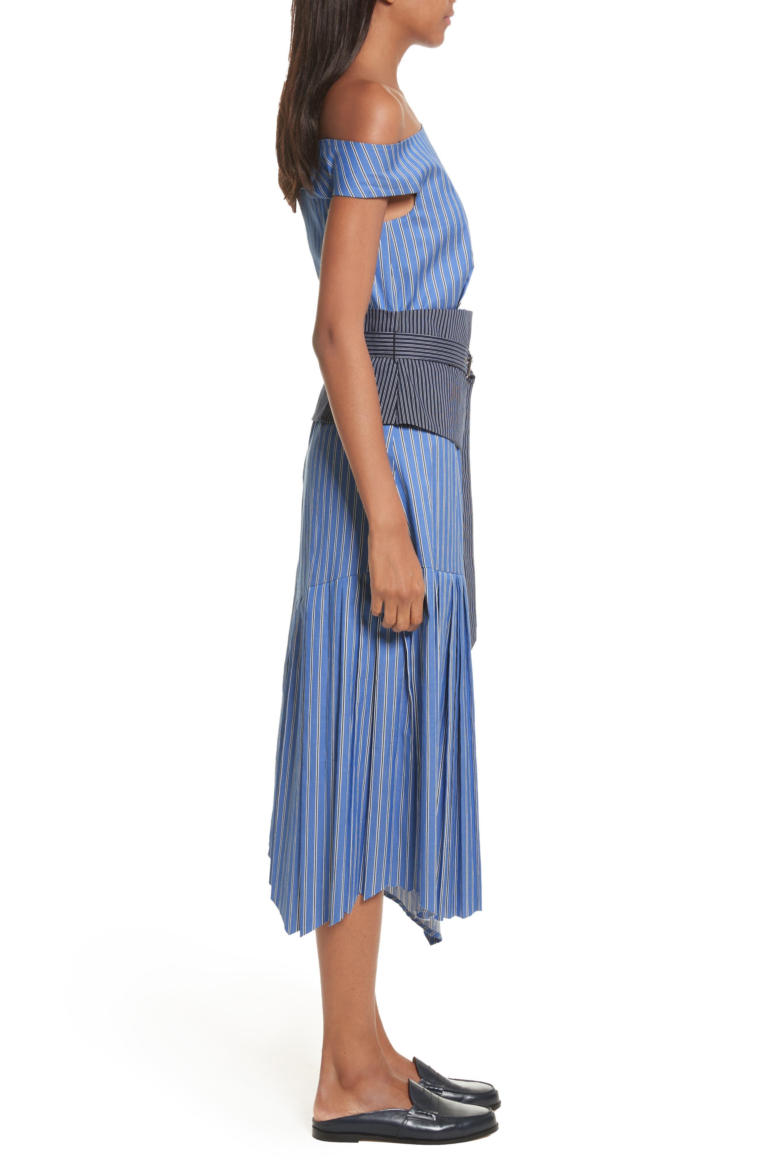 Belted Asymmetrical Midi Dress,                             Alternate thumbnail 3, color,                             402