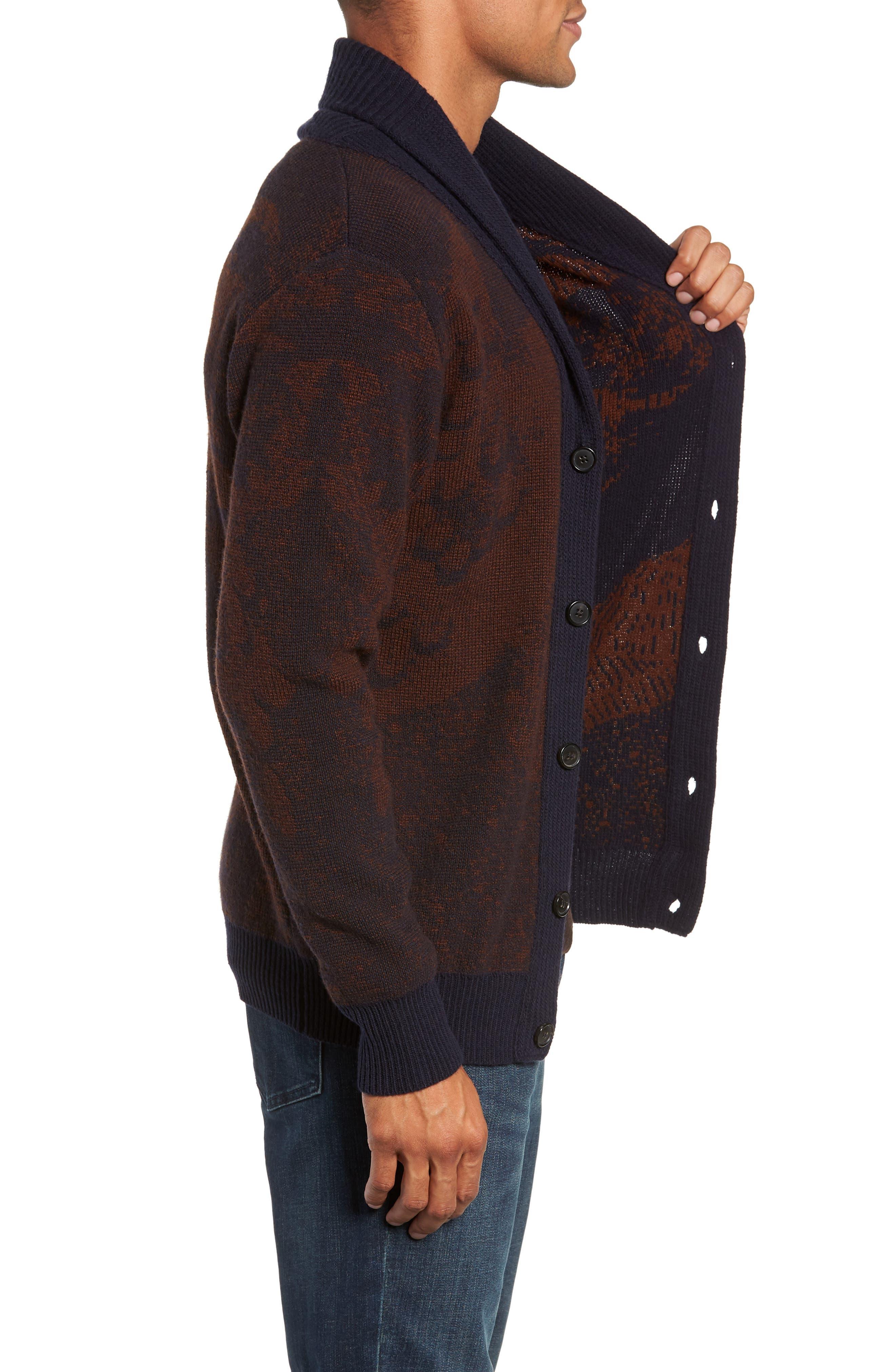 Peacock Shawl Collar Wool Blend Cardigan,                             Alternate thumbnail 3, color,                             NAVY/ RUST